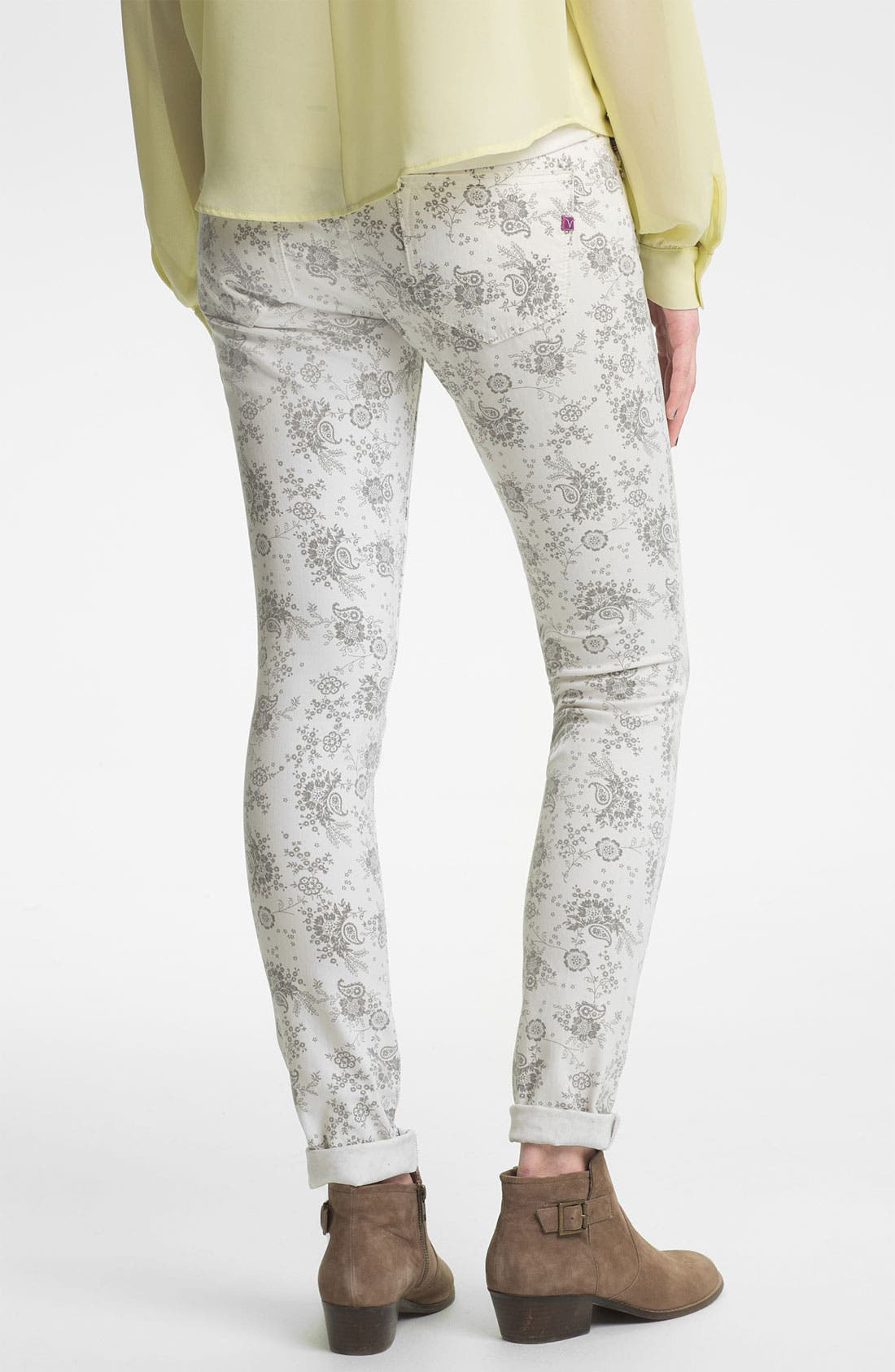 Main Image - Vigoss Paisley Print Skinny Jeans (Juniors)
