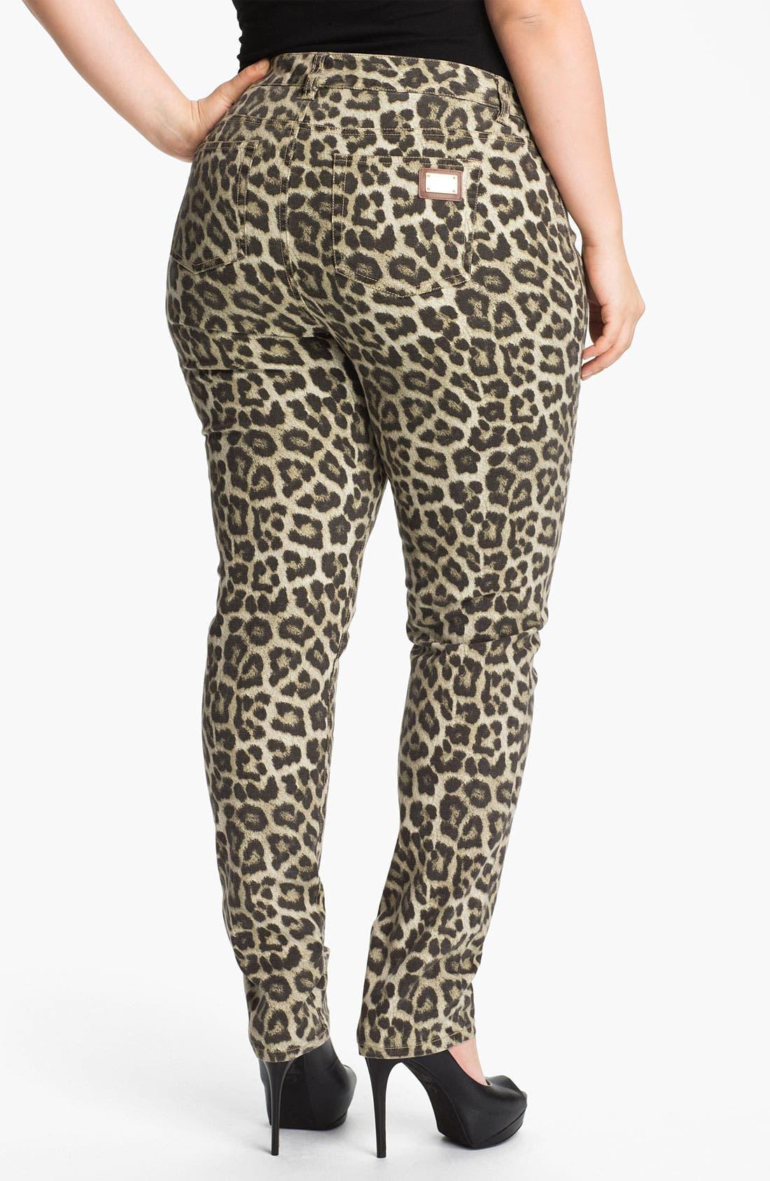 Alternate Image 2  - MICHAEL Michael Kors 'Savannah' Leopard Print Skinny Jeans (Plus)
