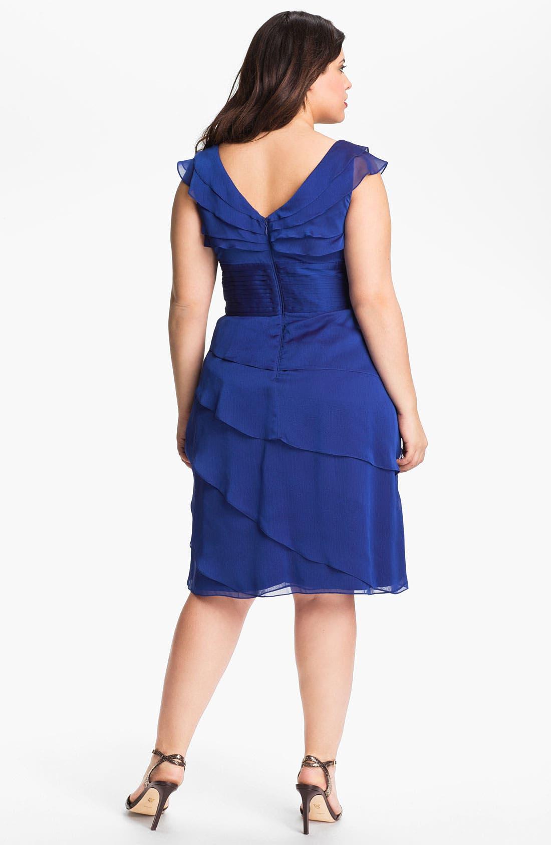 Alternate Image 2  - Adrianna Papell Chiffon Petal Gown (Plus Size)