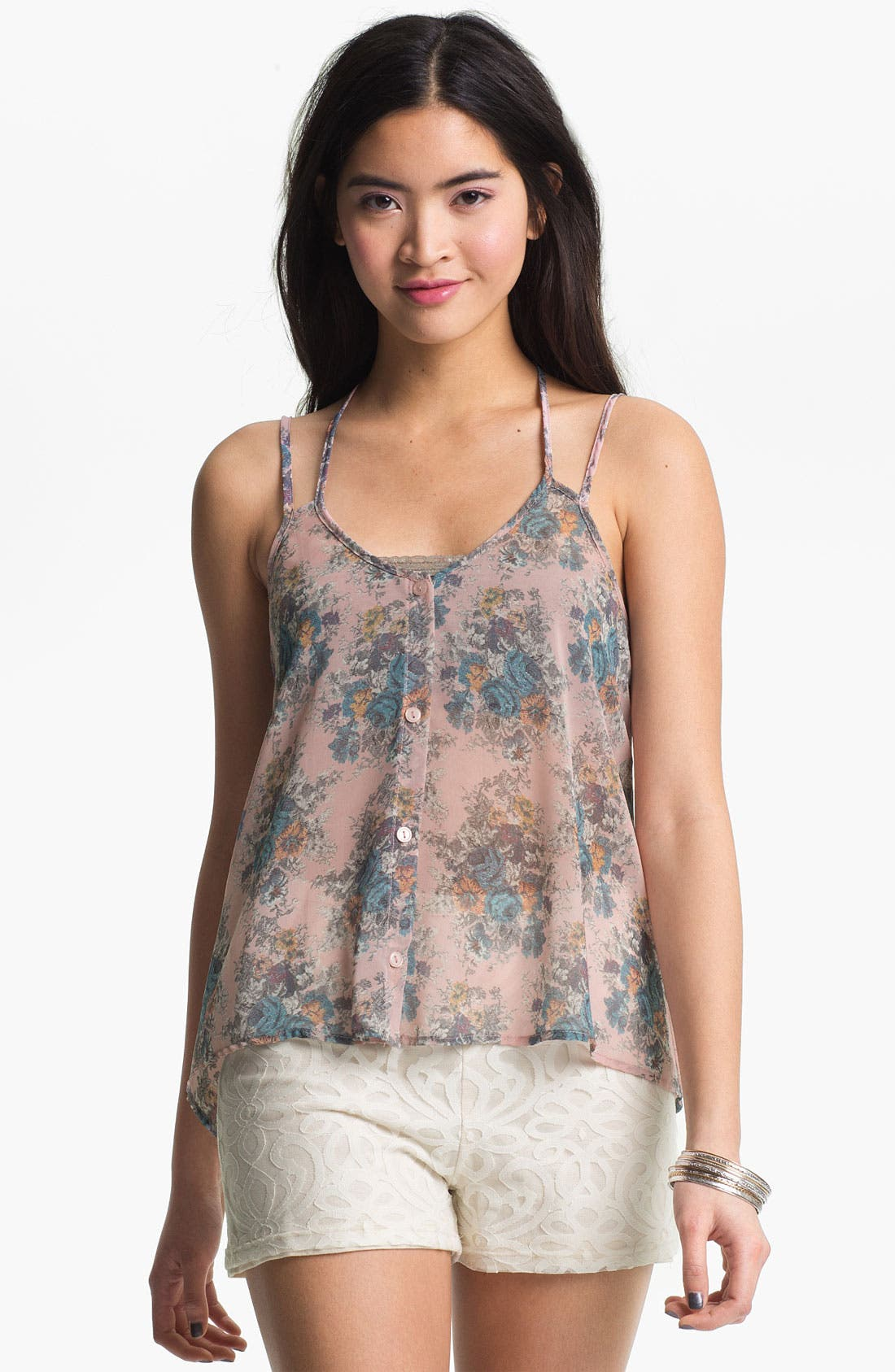 Main Image - Lush Floral Chiffon Camisole (Juniors)