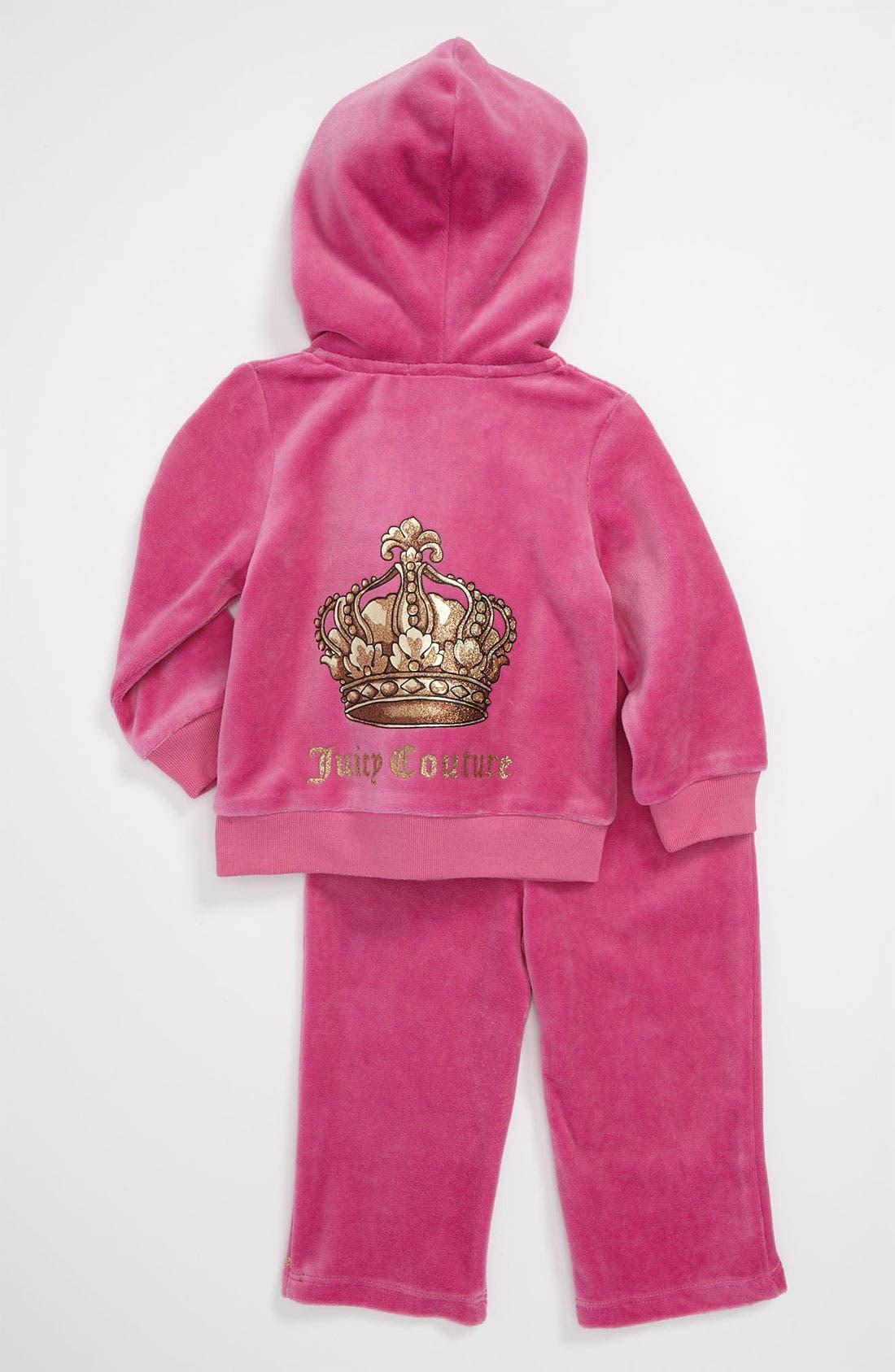 Alternate Image 2  - Juicy Couture Velour Hoodie & Pants (Infant)