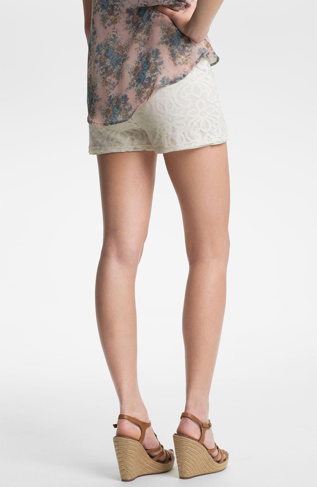 Alternate Image 2  - Mimi Chica Lace Shorts (Juniors)