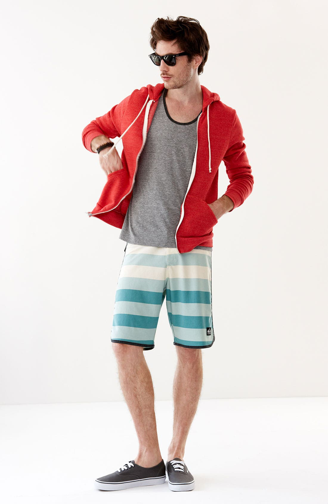 Main Image - Alternative Hoodie, The Rail by Public Opinion Tank Top & Quiksilver Board Shorts