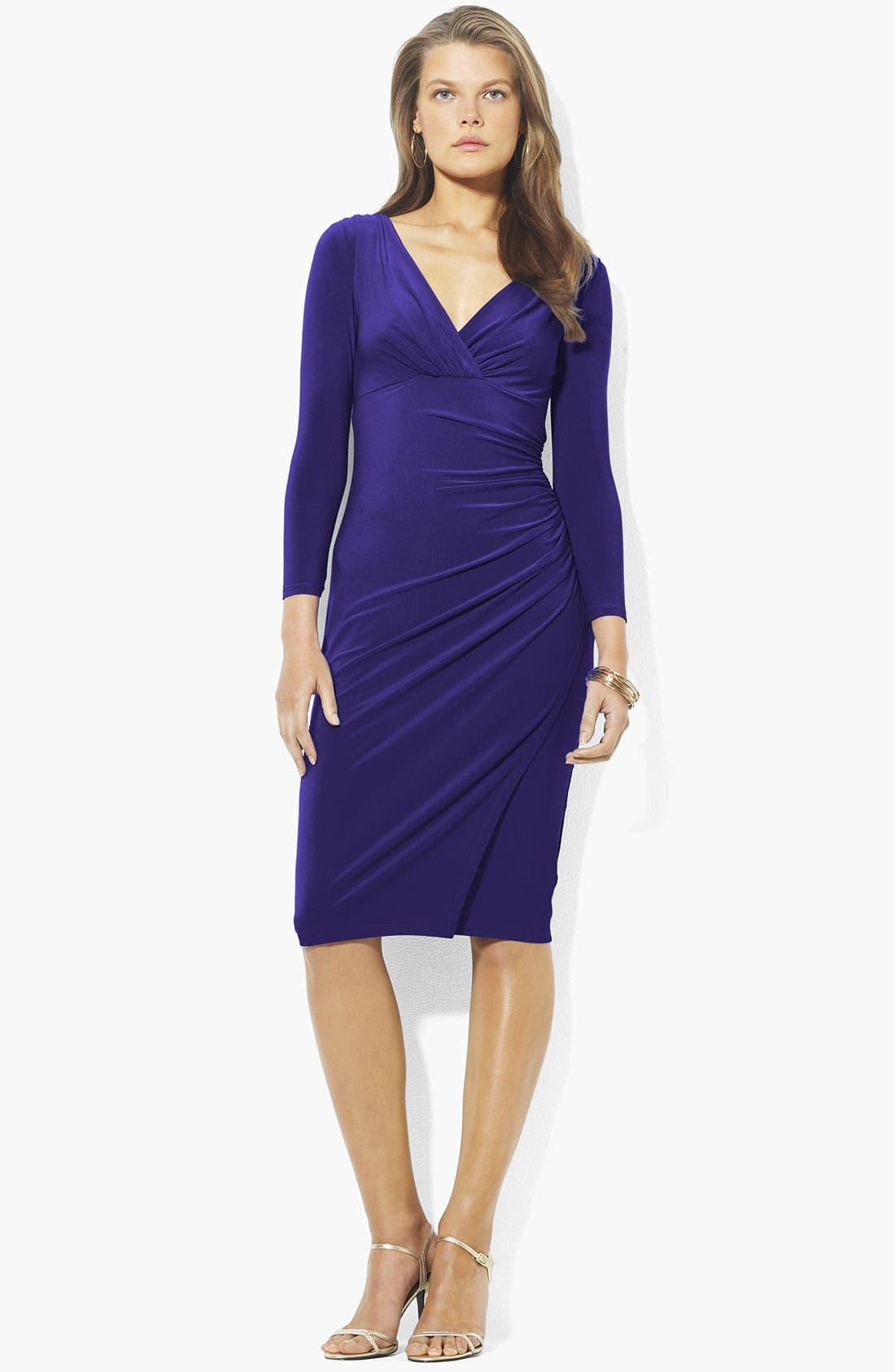 Main Image - Lauren Ralph Lauren Surplice Jersey Dress