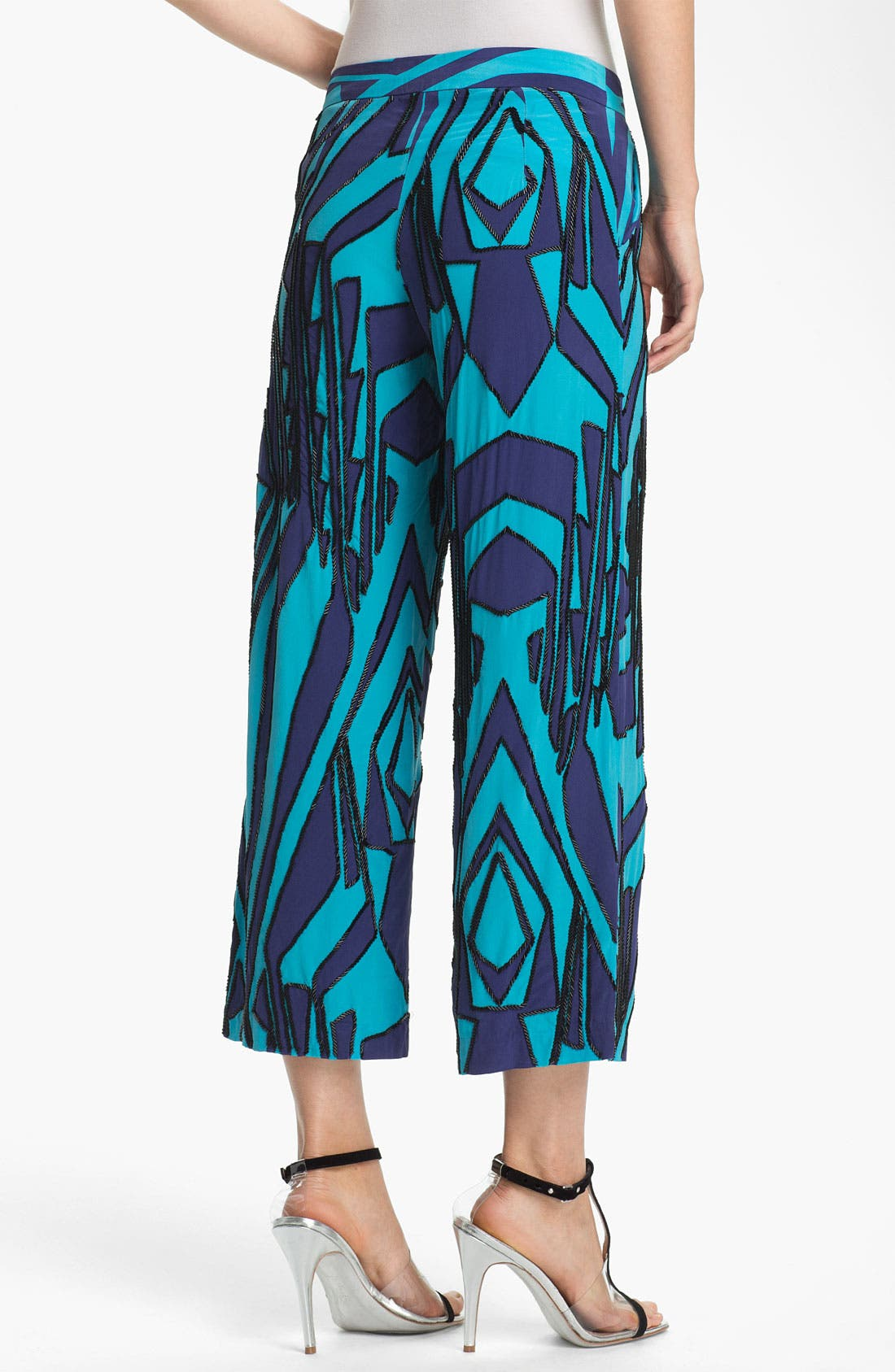 Alternate Image 2  - Tracy Reese Beaded Print Silk Crop Pants