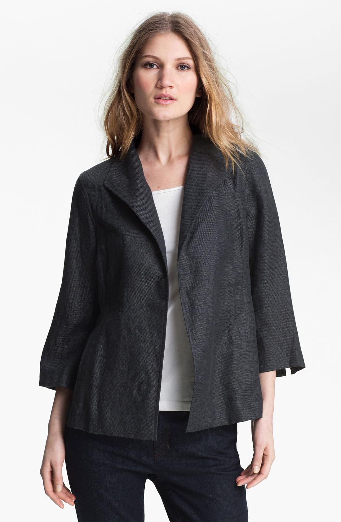 Alternate Image 1 Selected - Eileen Fisher Basket Weave Linen Blend Jacket
