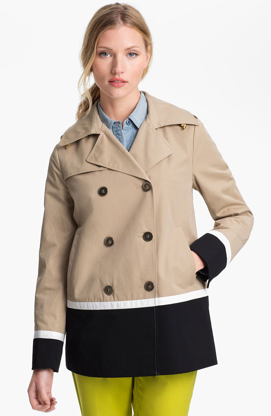 Main Image - Ellen Tracy Colorblock Peacoat (Petite) (Online Only)