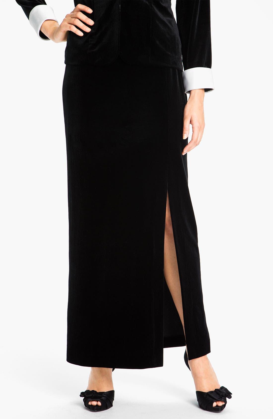 Main Image - Alex Evenings Side Slit Velvet Skirt (Petite)