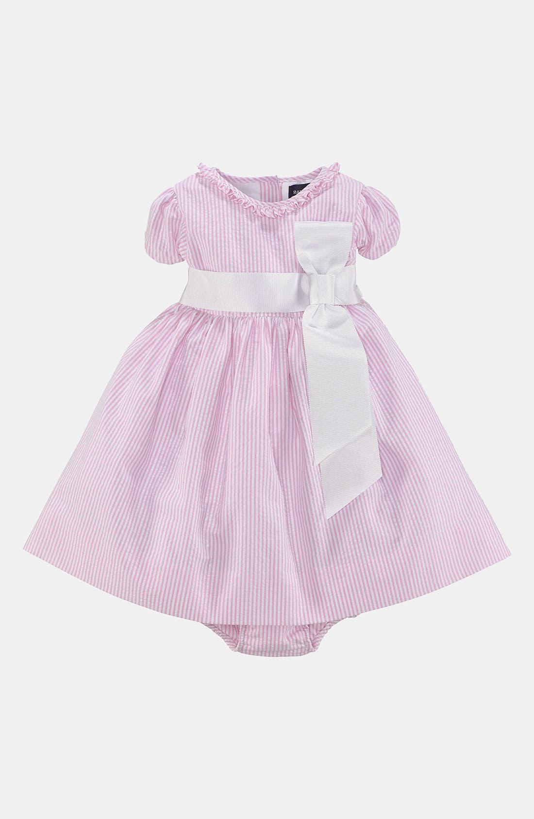 Alternate Image 1 Selected - Ralph Lauren Seersucker Dress & Bloomers (Baby Girls)