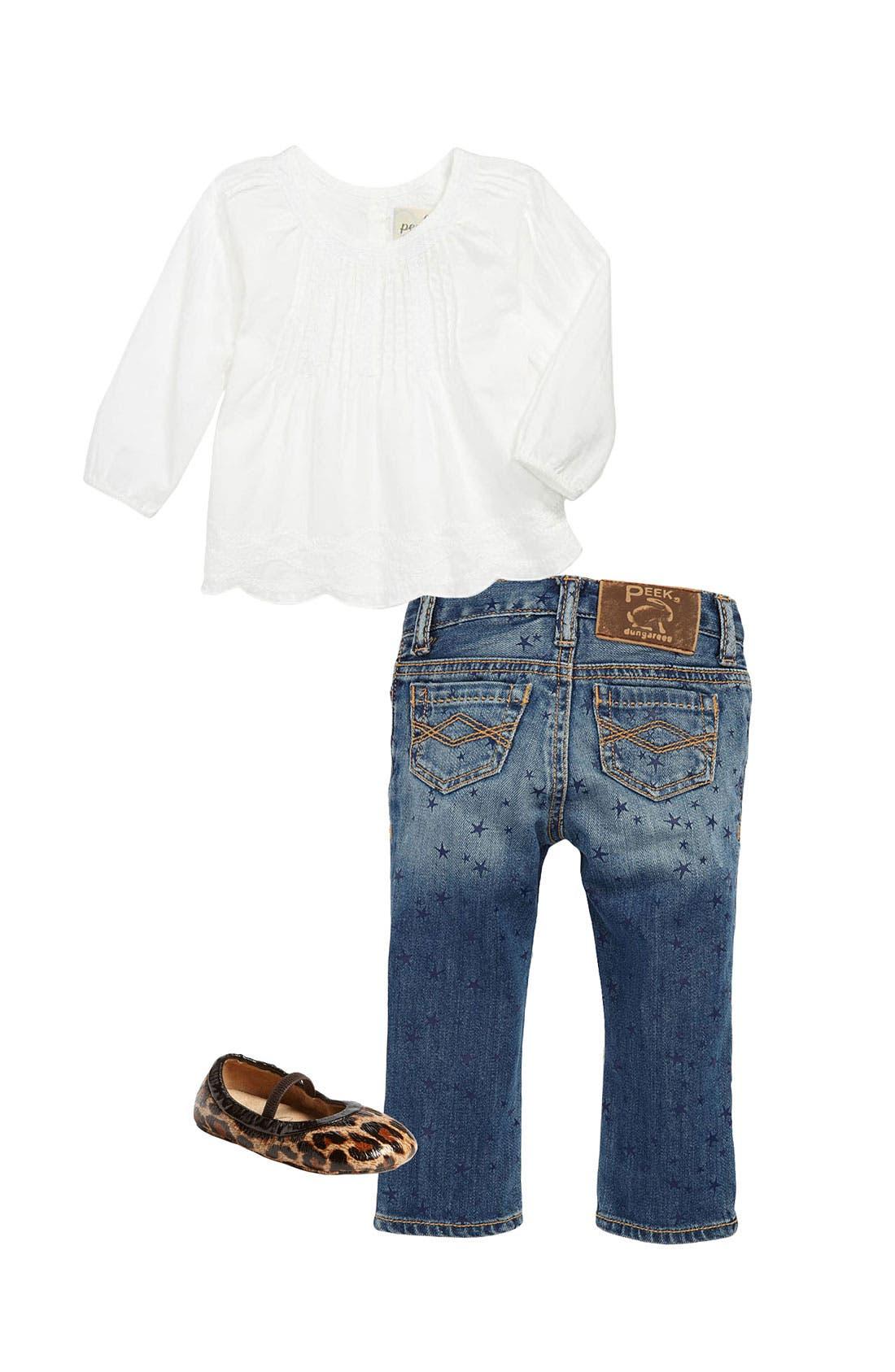 Main Image - Peek Top, Skinny Jeans & Crib Shoe (Infant)