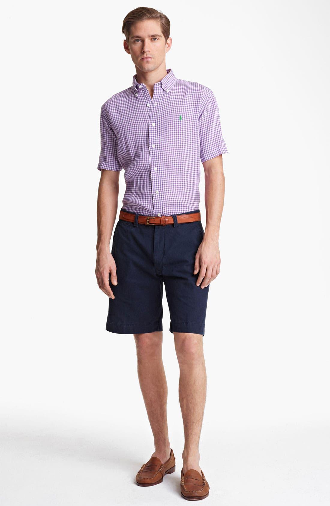 Alternate Image 4  - Polo Ralph Lauren Classic Fit Short Sleeve Linen Sport Shirt