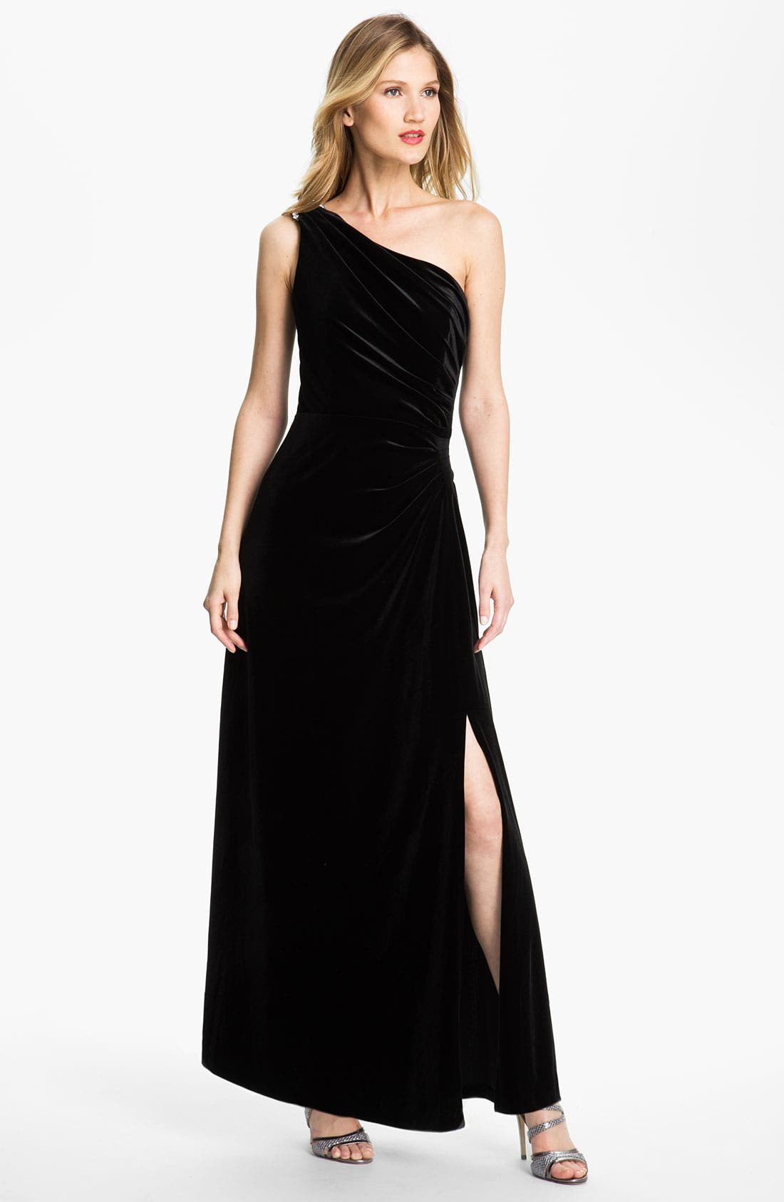 Main Image - Alex Evenings One Shoulder Velvet Gown (Petite)
