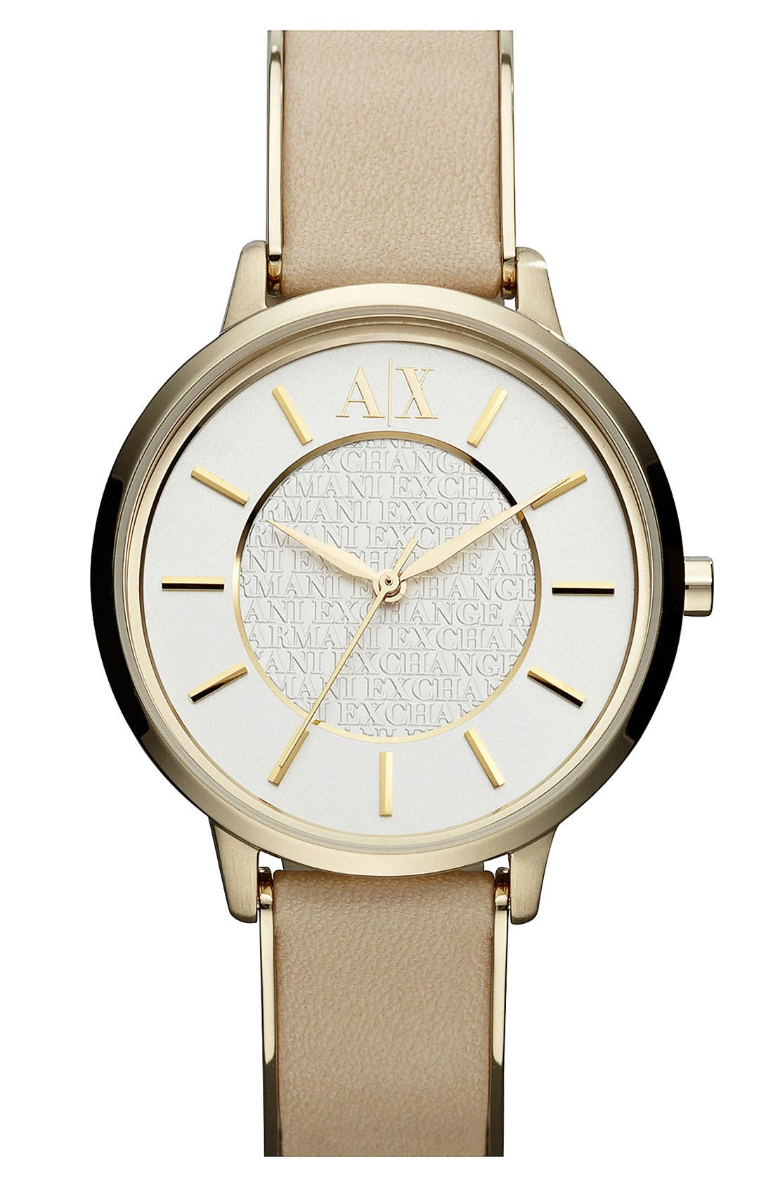 Alternate Image 1 Selected - AX Armani Exchange Leather Strap Watch, 38mm (Online Only)