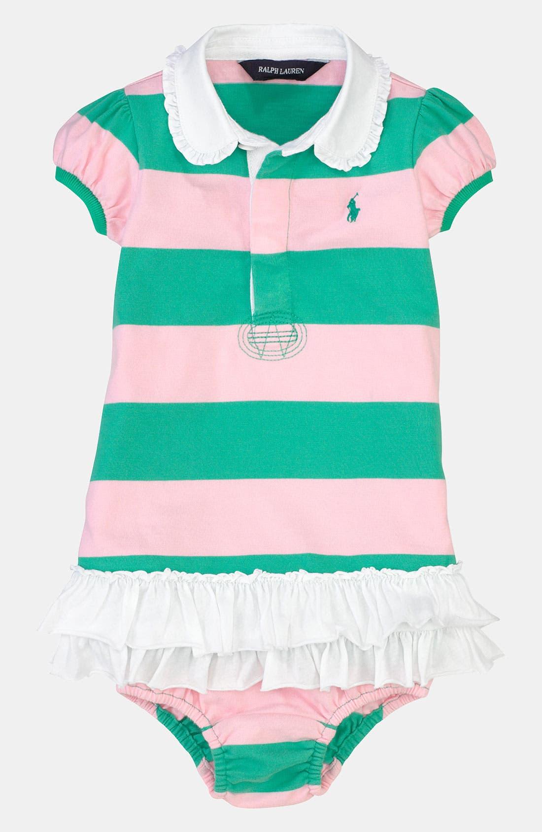 Alternate Image 1 Selected - Ralph Lauren Stripe Dress & Bloomers (Baby)