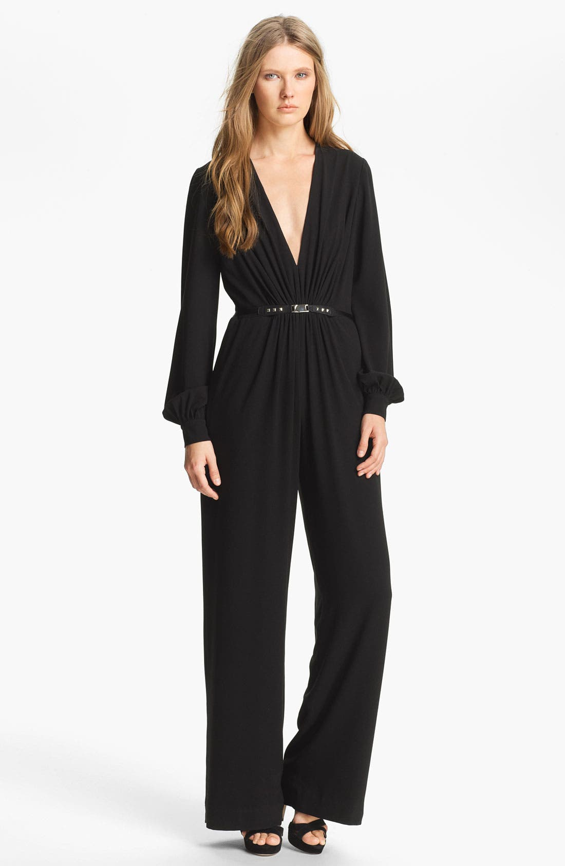 Alternate Image 1 Selected - Haute Hippie Belted Silk Jumpsuit