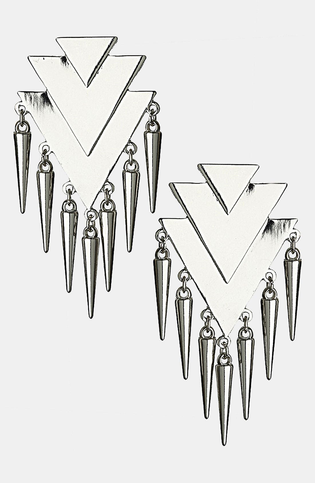 Main Image - Topshop Triangle & Spike Drop Earrings