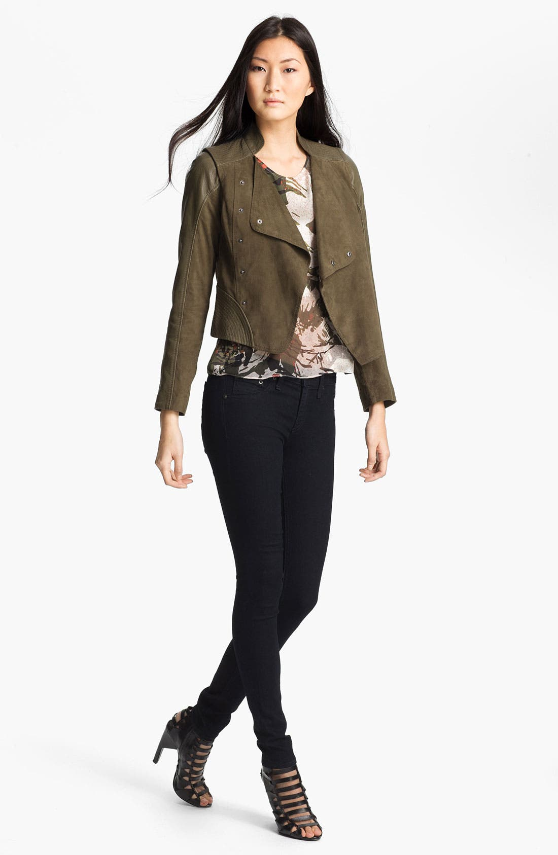 Main Image - Edun Double Breasted Leather & Suede Jacket