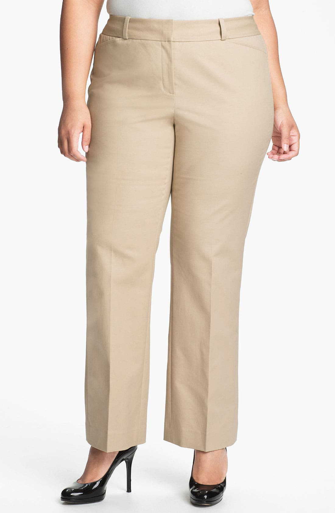 Main Image - Sejour Stretch Cotton Pants (Plus Size)