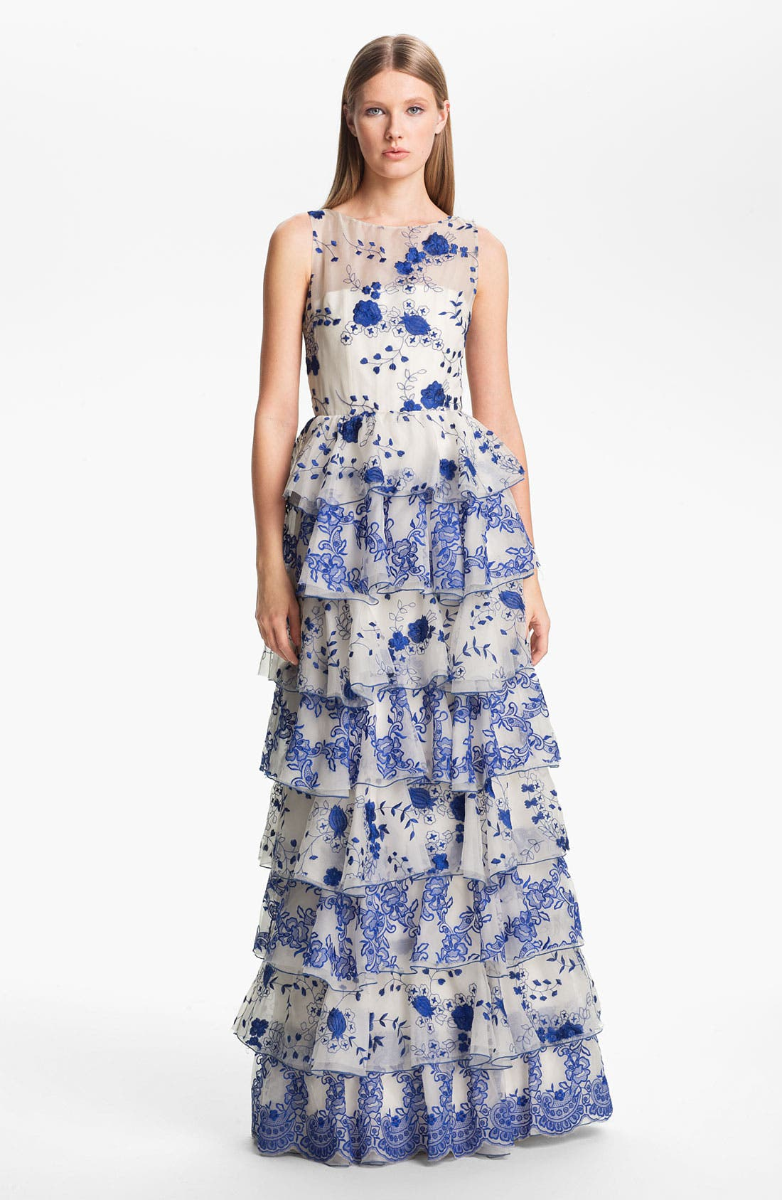 Alternate Image 1 Selected - Alice + Olivia 'Dahlia' Tiered Lace Gown