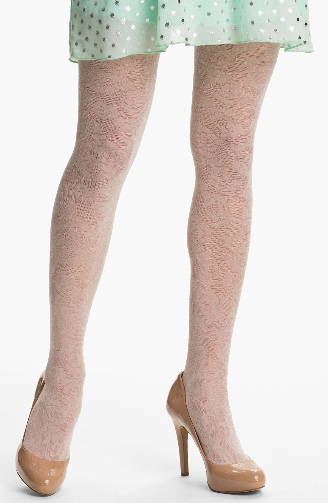 Alternate Image 1 Selected - DKNY Laser Cut Lace Tights