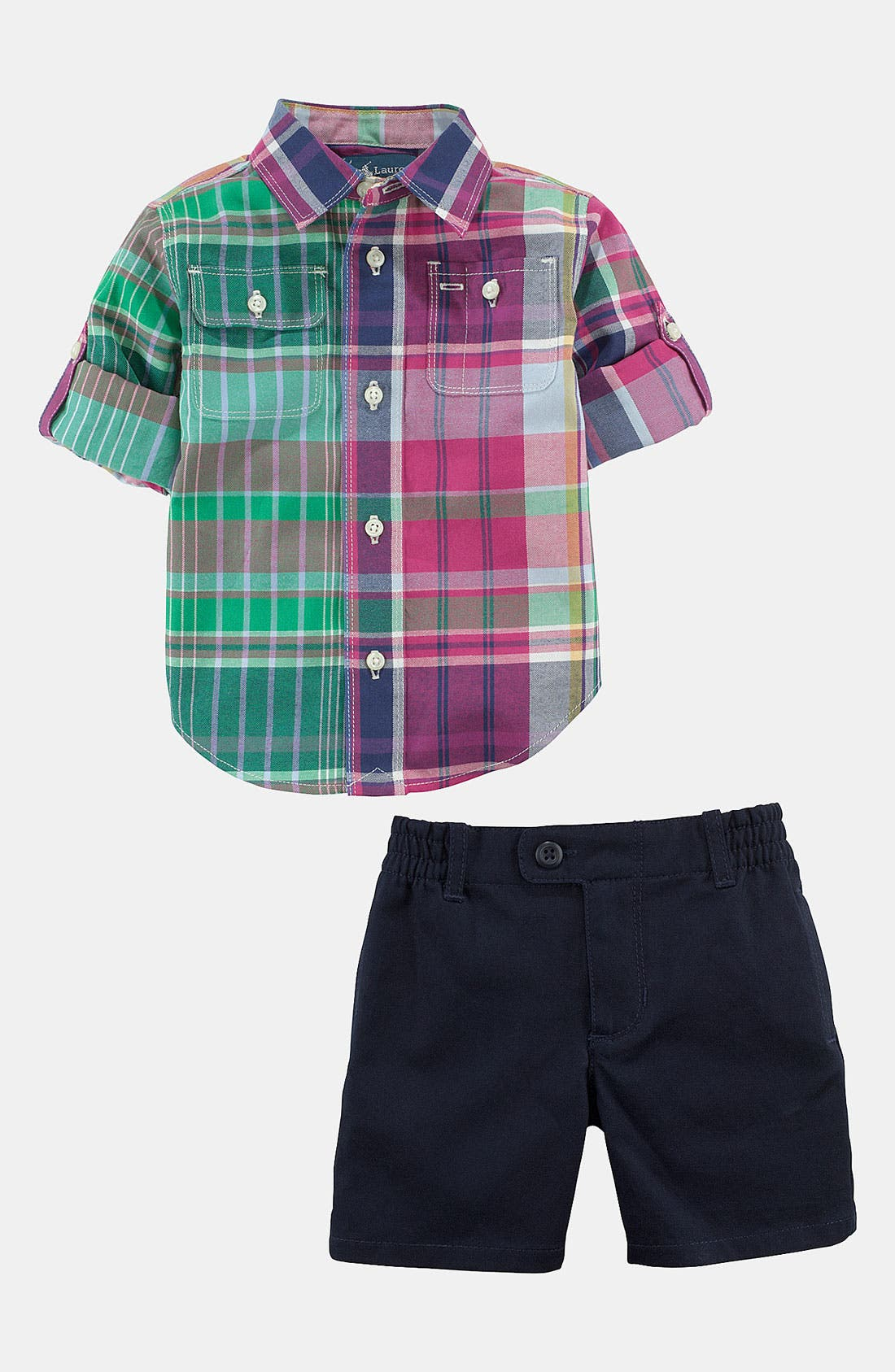 Main Image - Ralph Lauren Plaid Shirt & Shorts (Baby)