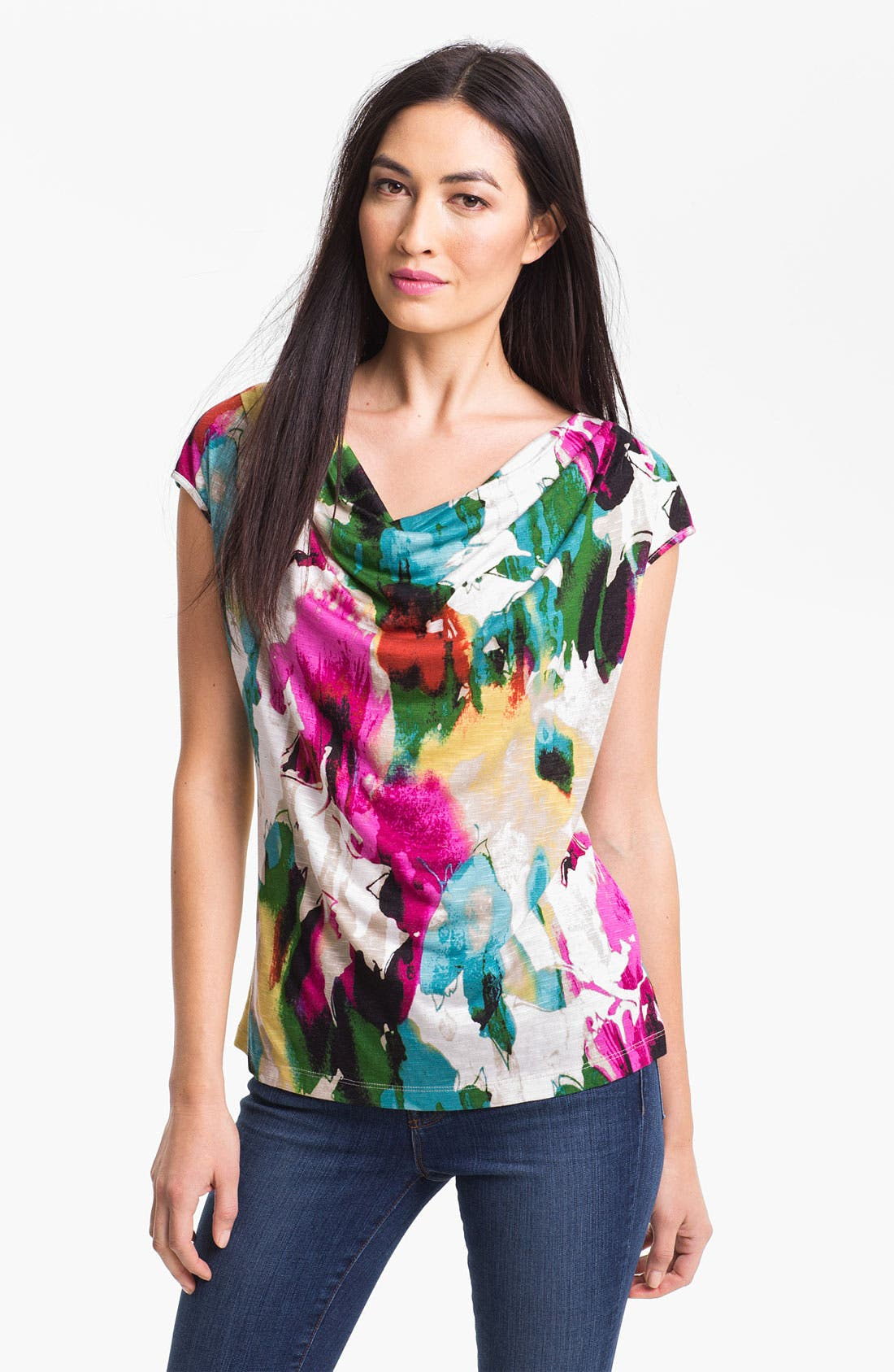 Alternate Image 1 Selected - Nic + Zoe 'Painted Dream' Drape Neck Top