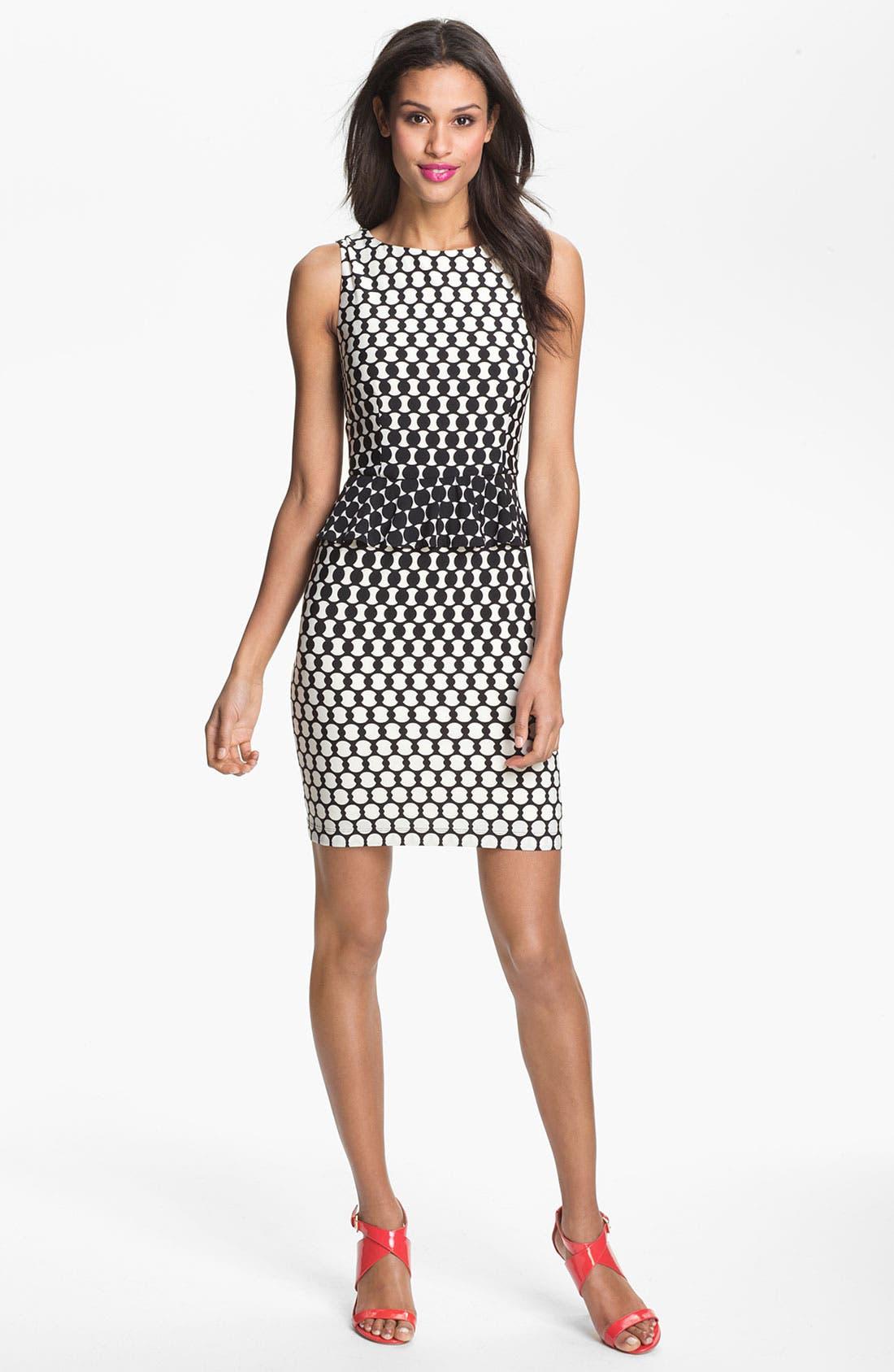 Alternate Image 1 Selected - Donna Morgan Print Peplum Sheath Dress
