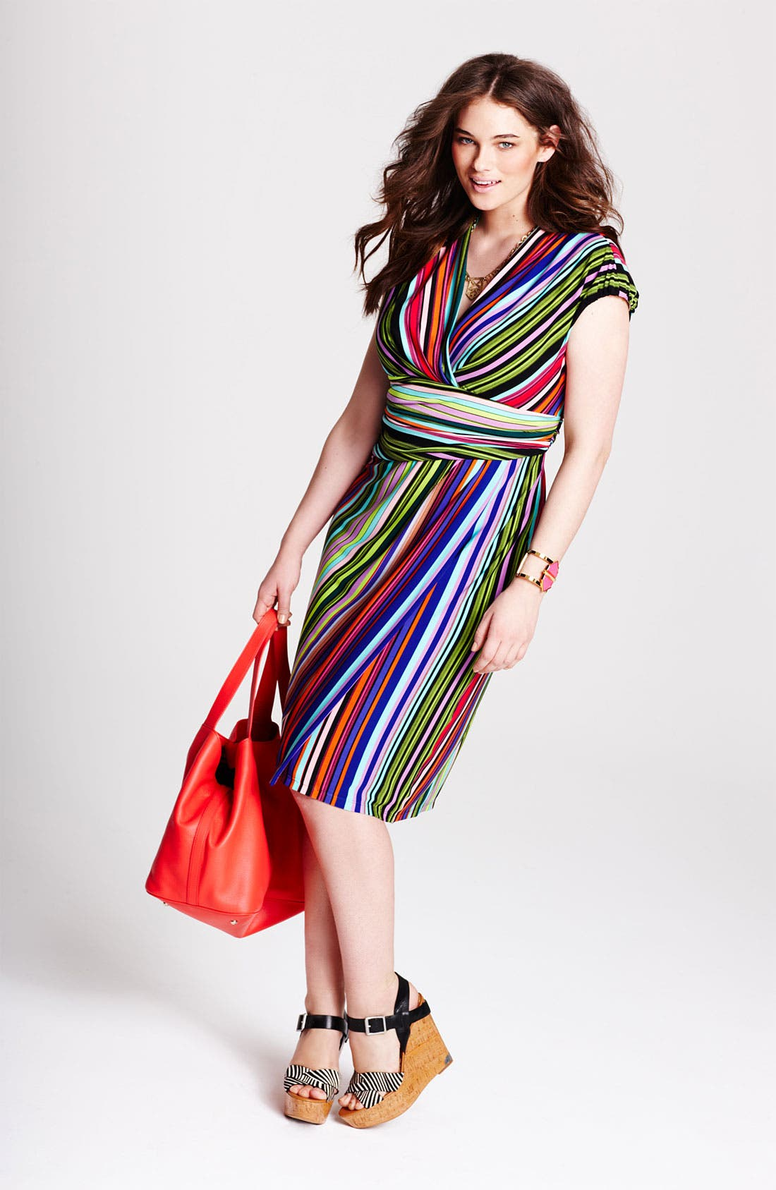 Alternate Image 2  - Suzi Chin for Maggy Boutique Stripe Jersey Faux Wrap Dress (Plus Size)