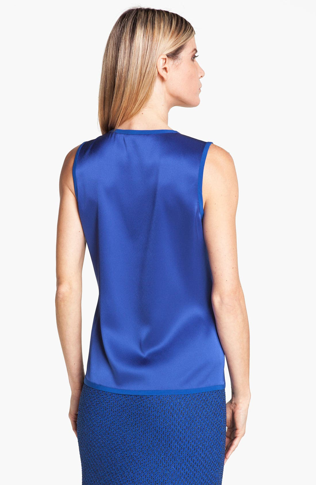 Alternate Image 2  - St. John Collection Scoop Neck Liquid Satin Shell