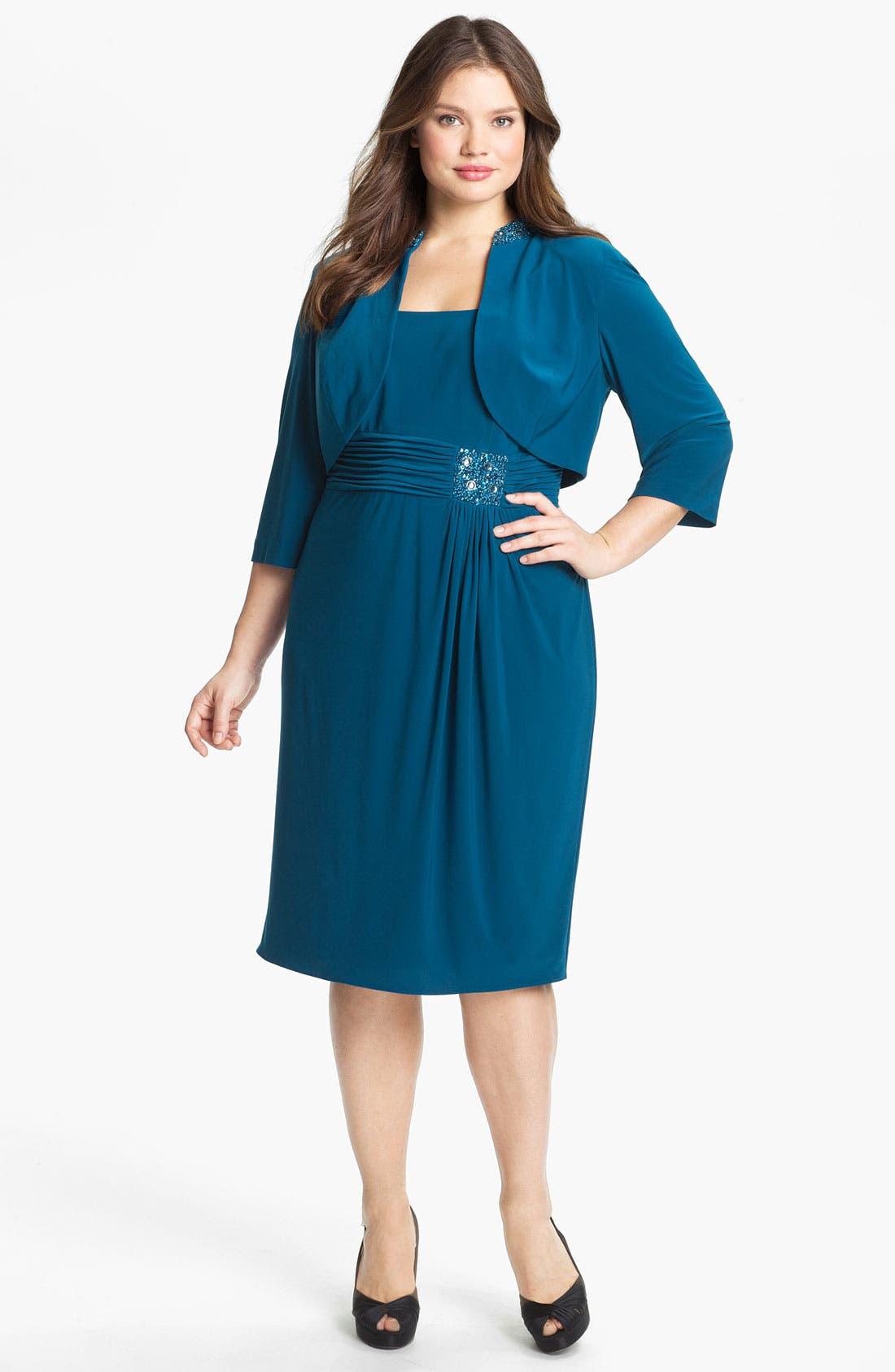 Alternate Image 1 Selected - Alex Evenings Embellished Jersey Dress & Bolero (Plus Size)