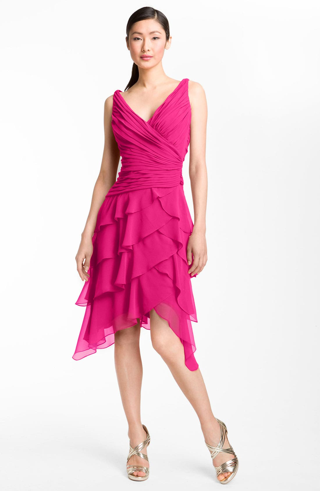 Alternate Image 1 Selected - T by Tadashi V-Neck Tiered Ruffle Skirt Chiffon Dress