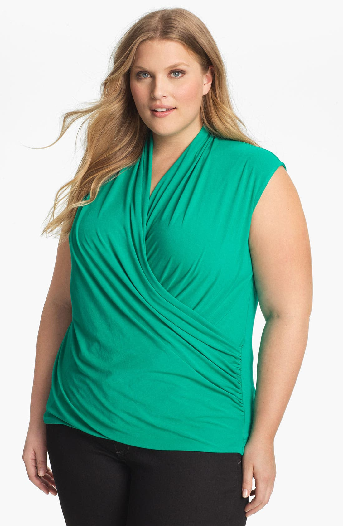 Alternate Image 1 Selected - Vince Camuto Faux Wrap Top (Plus)