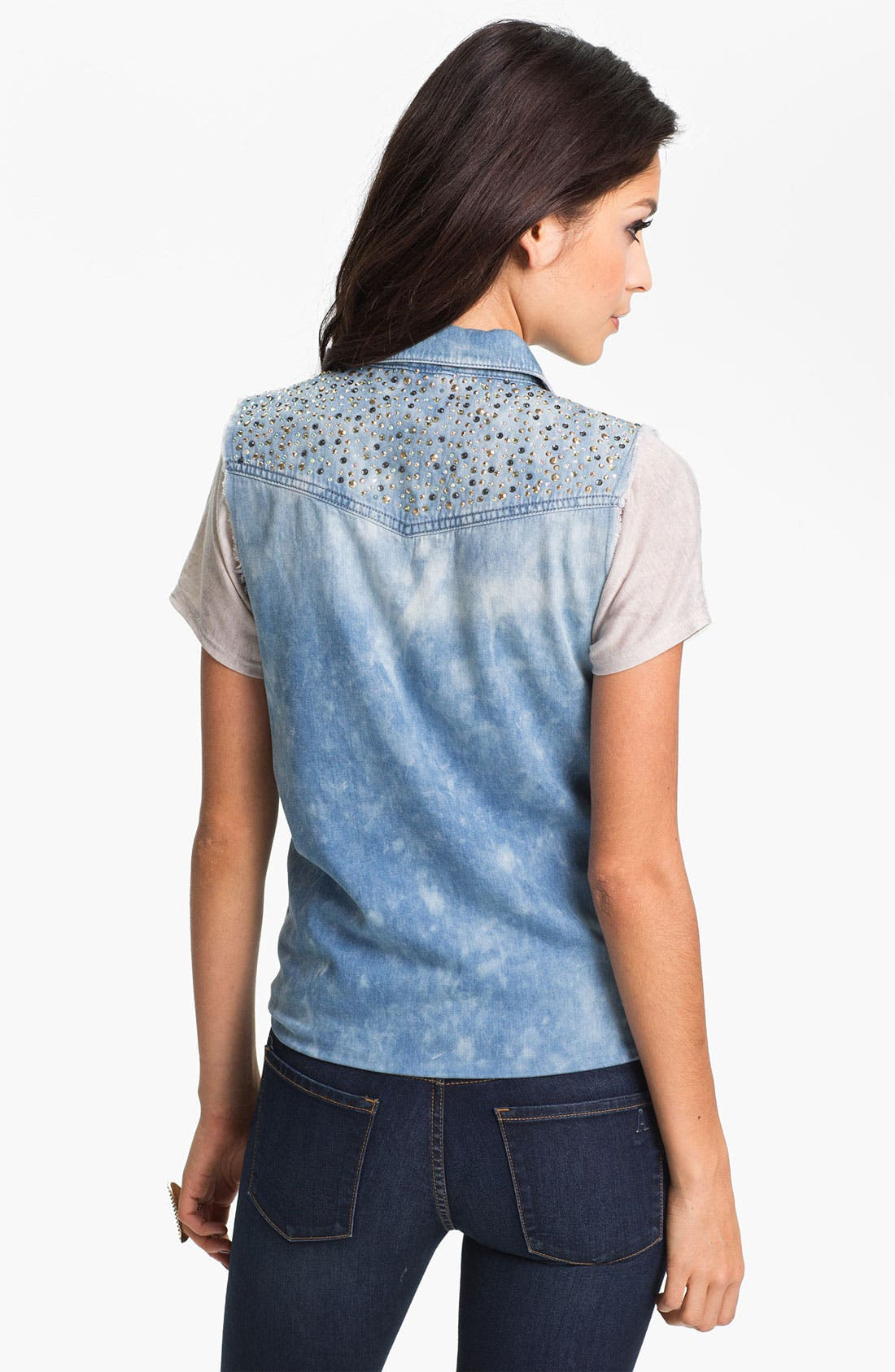 Alternate Image 2  - Jolt Embellished Cutoff Chambray Shirt (Juniors)