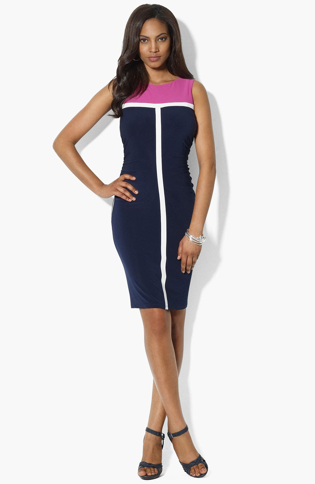 Main Image - Lauren Ralph Lauren Colorblock Jersey Sheath Dress