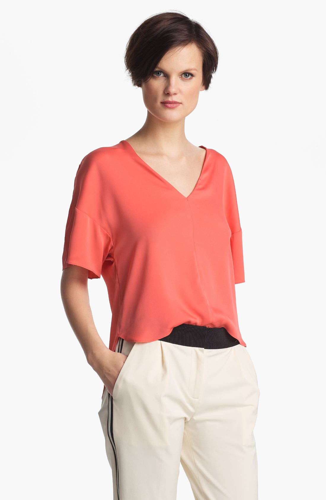 Alternate Image 1 Selected - Milly Stretch Silk Top