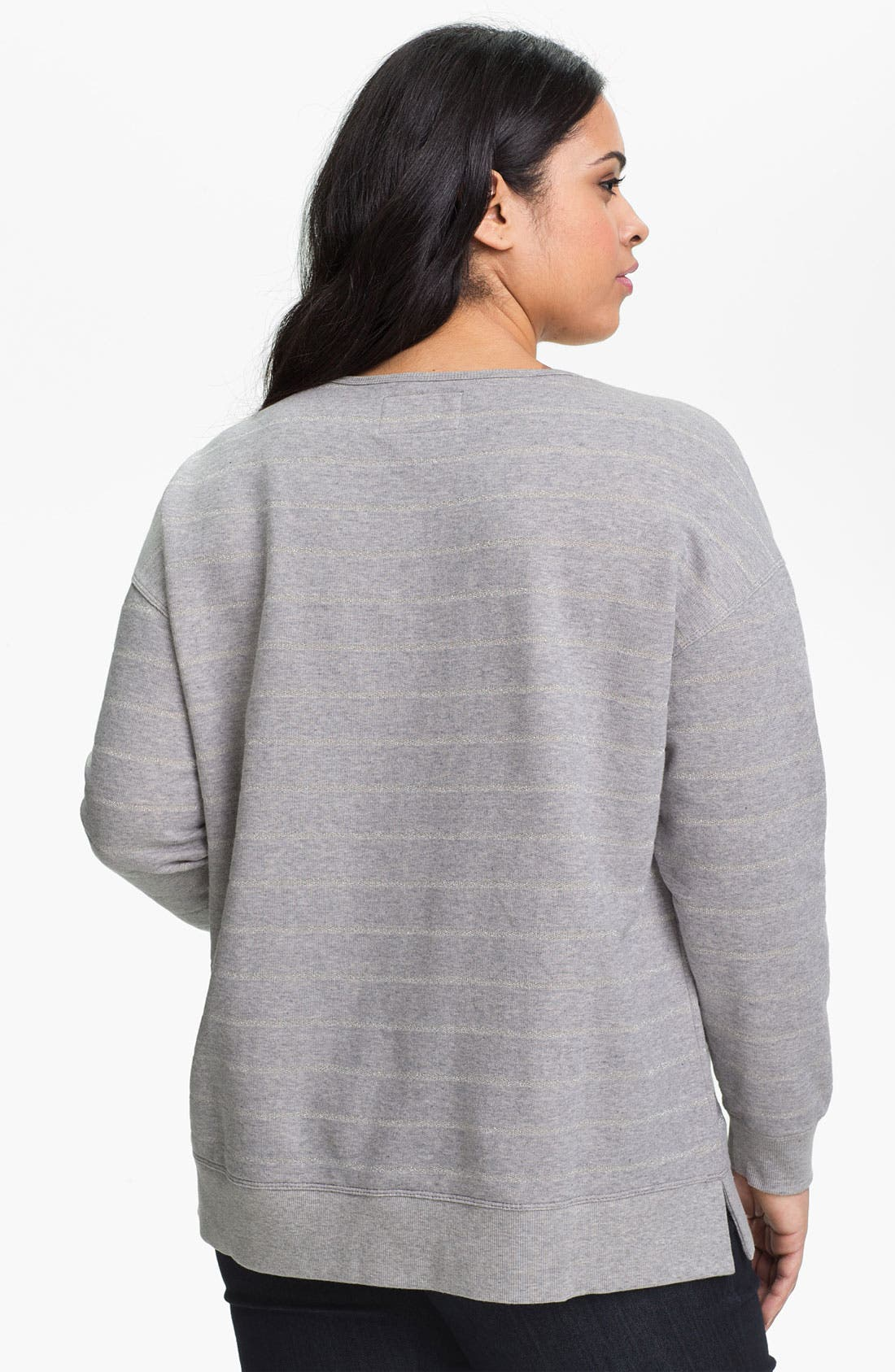Alternate Image 2  - Two by Vince Camuto Stripe Lace Up Sweatshirt (Plus Size)
