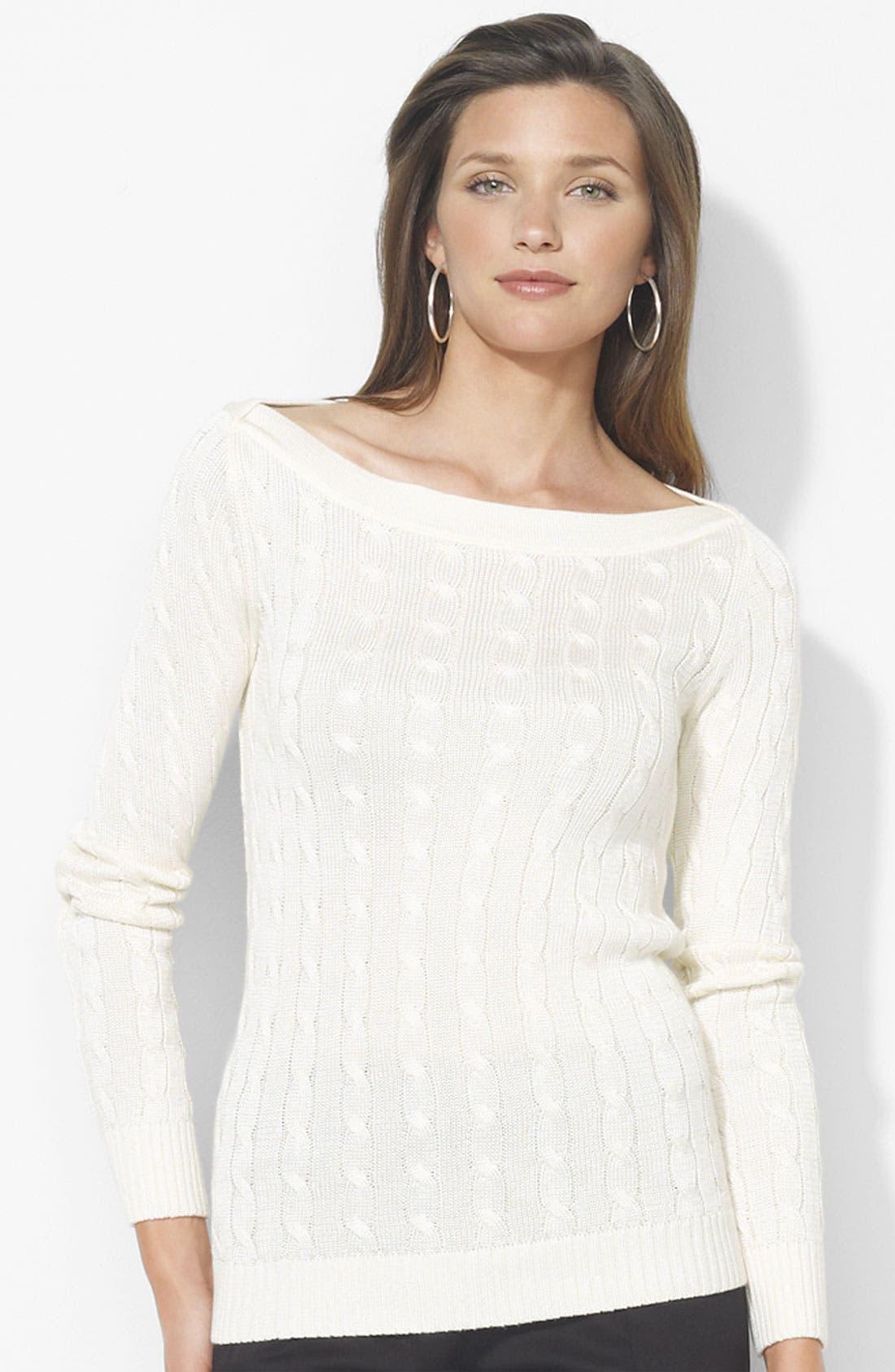 Alternate Image 1 Selected - Lauren Ralph Lauren Bateau Neck Cable Sweater