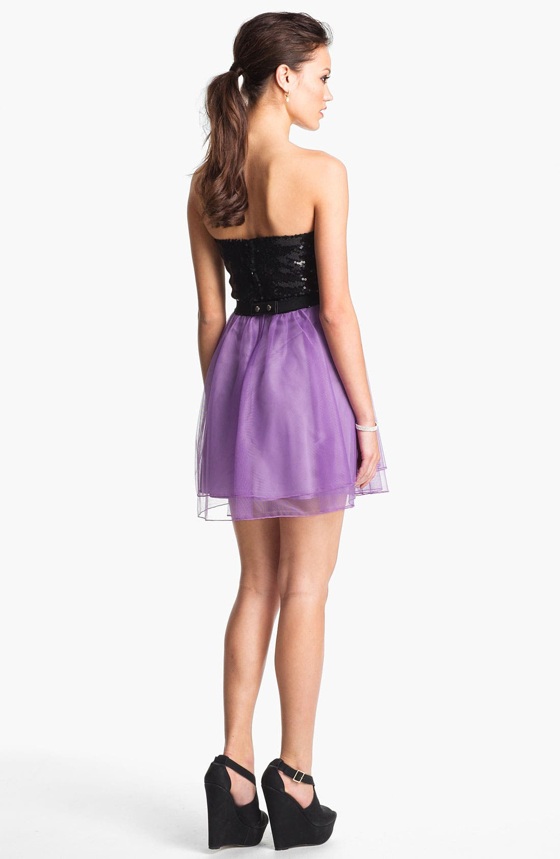 Alternate Image 2  - Trixxi Sequin & Tulle Party Dress (Juniors) (Online Only)