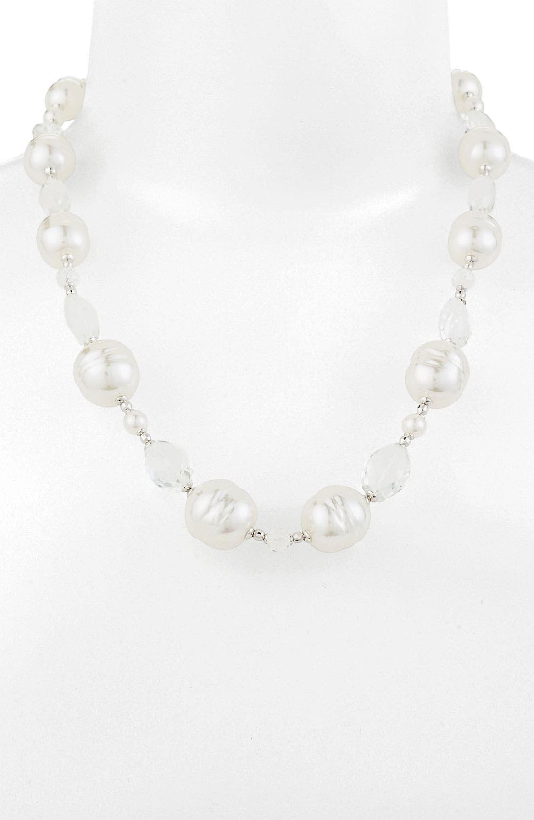 Main Image - Majorica Pearl & Stone Necklace