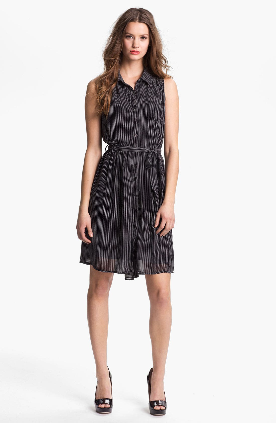 Main Image - Press Sleeveless Shirtdress (Online Only)