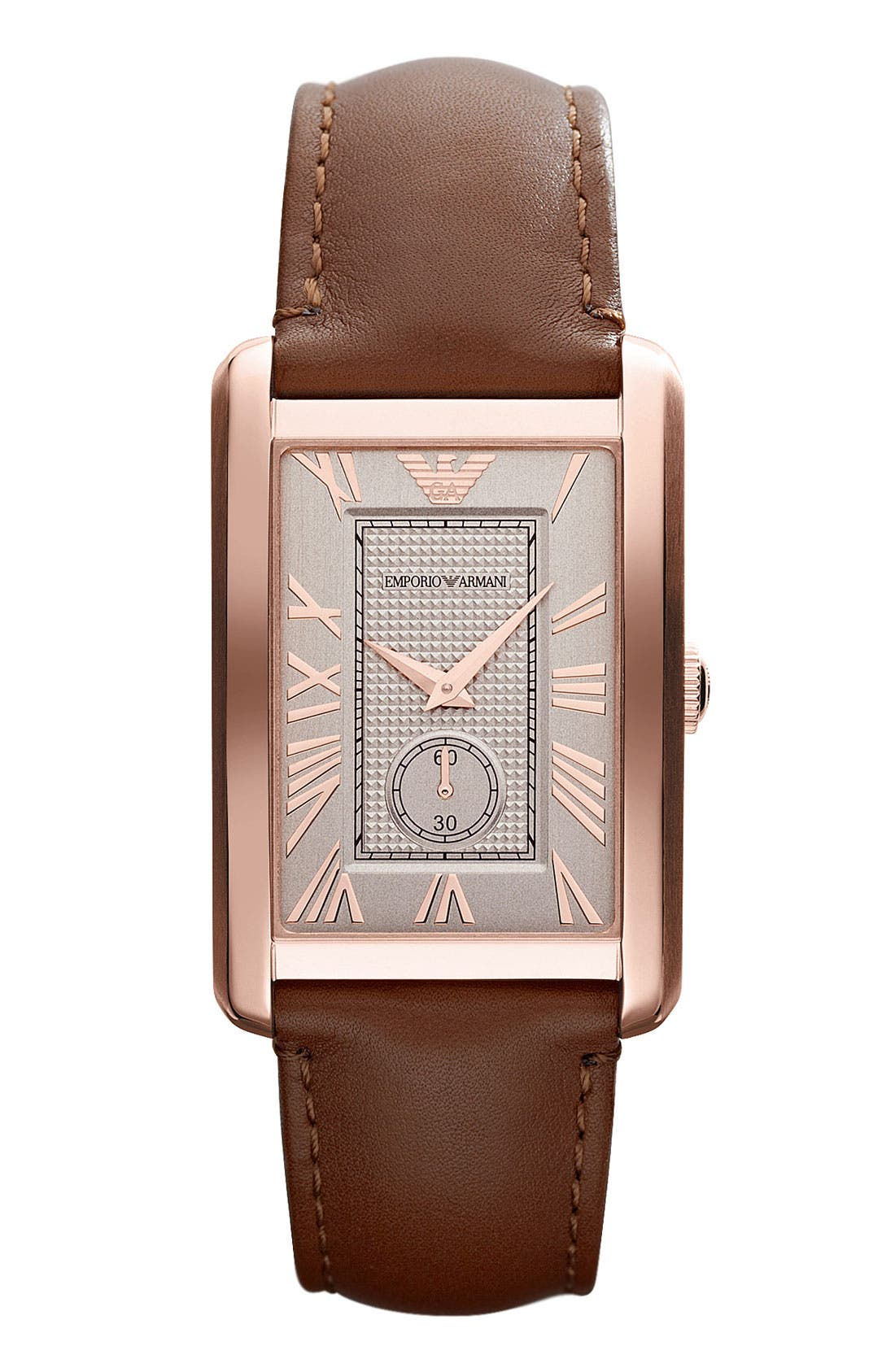 Alternate Image 1 Selected - Emporio Armani Rectangular Leather Strap Watch, 31mm x 39mm