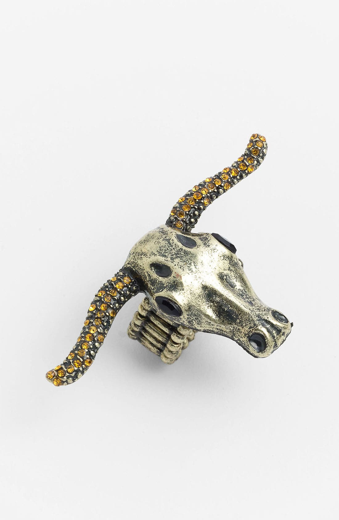 Alternate Image 1 Selected - Carole Rhinestone Longhorn Skull Ring (Online Only)