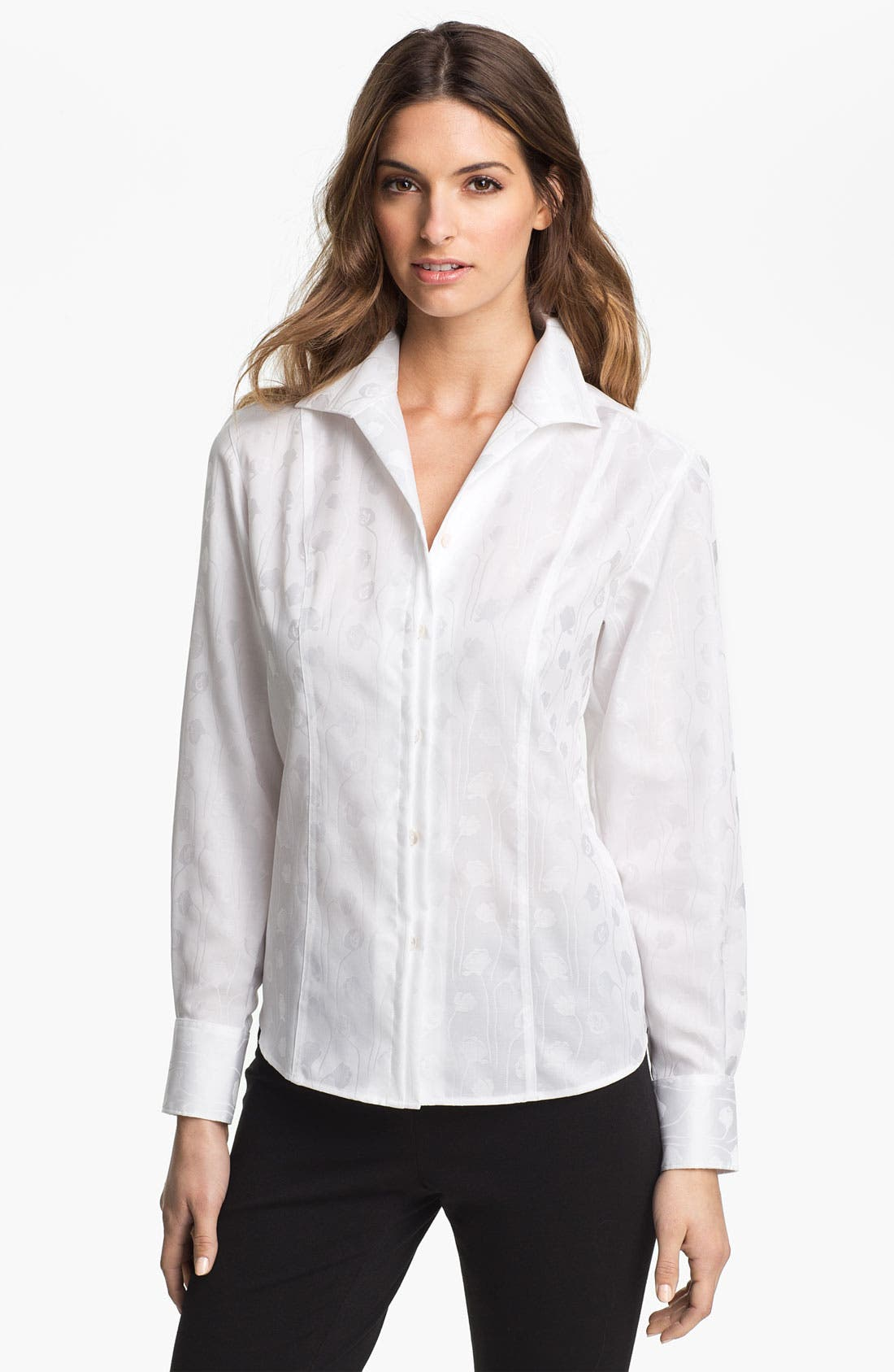 Alternate Image 1 Selected - Foxcroft Floral Jacquard Shirt