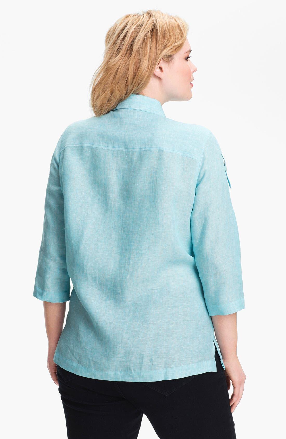 Alternate Image 2  - Foxcroft Chambray Linen Shirt (Plus Size)