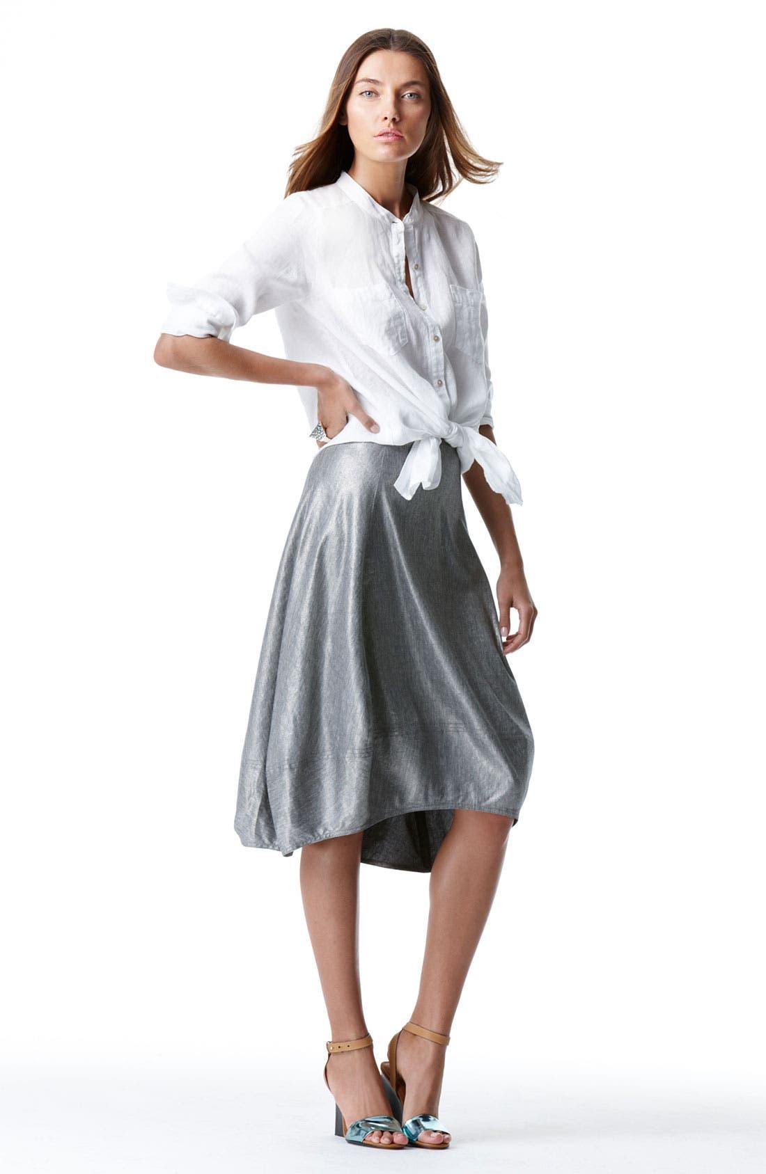 Alternate Image 2  - Eileen Fisher Mandarin Collar Organic Linen Shirt