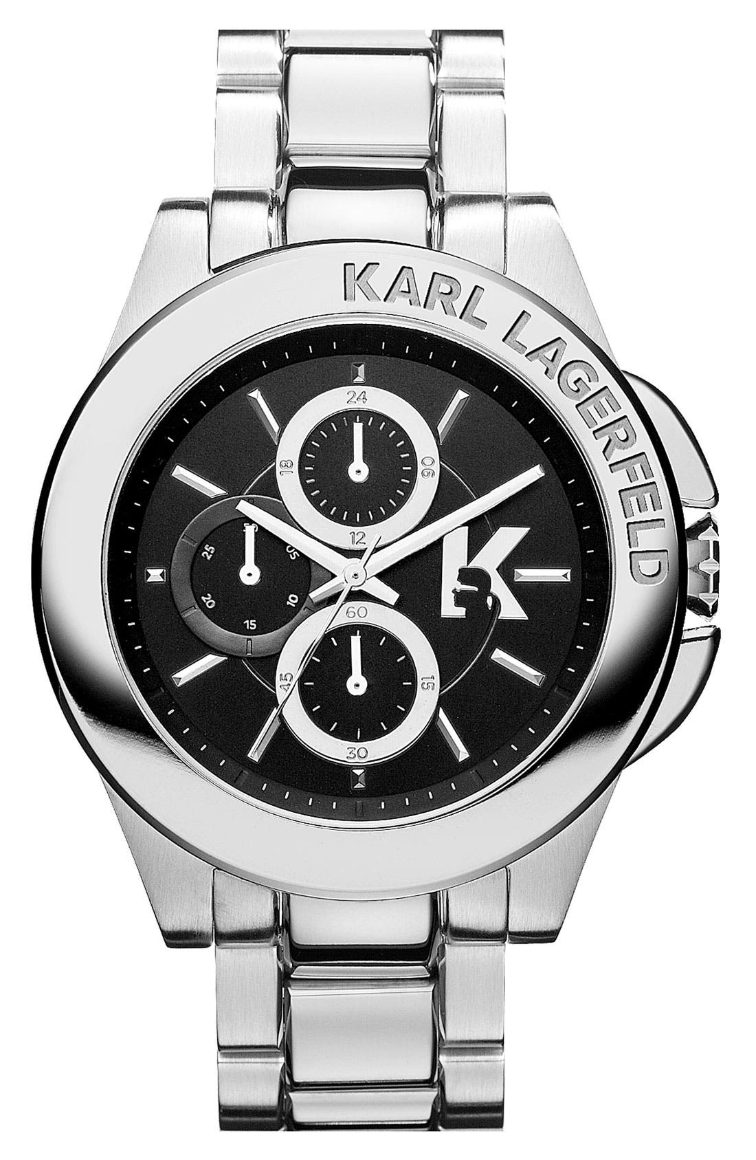 Alternate Image 1 Selected - KARL LAGERFELD 'Energy' Chronograph Bracelet Watch, 44mm
