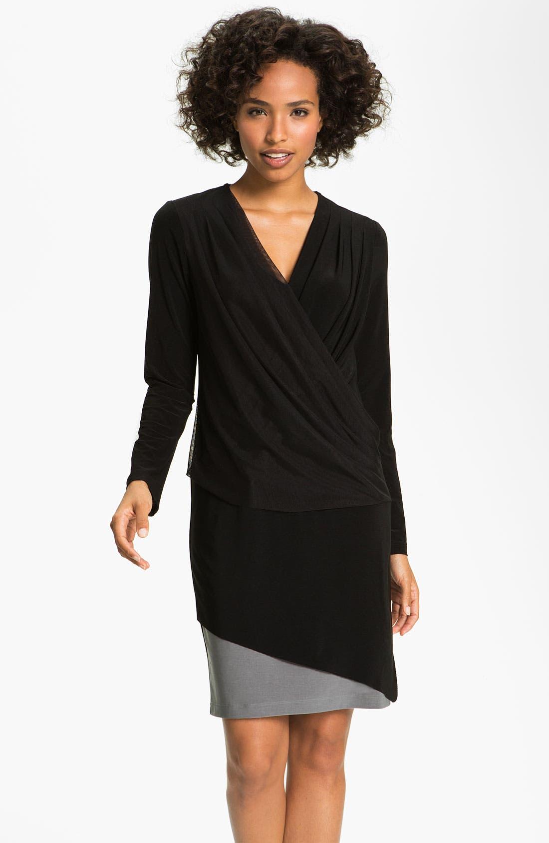 Alternate Image 1 Selected - Alex & Ava Surplice Mesh & Jersey Dress (Petite)