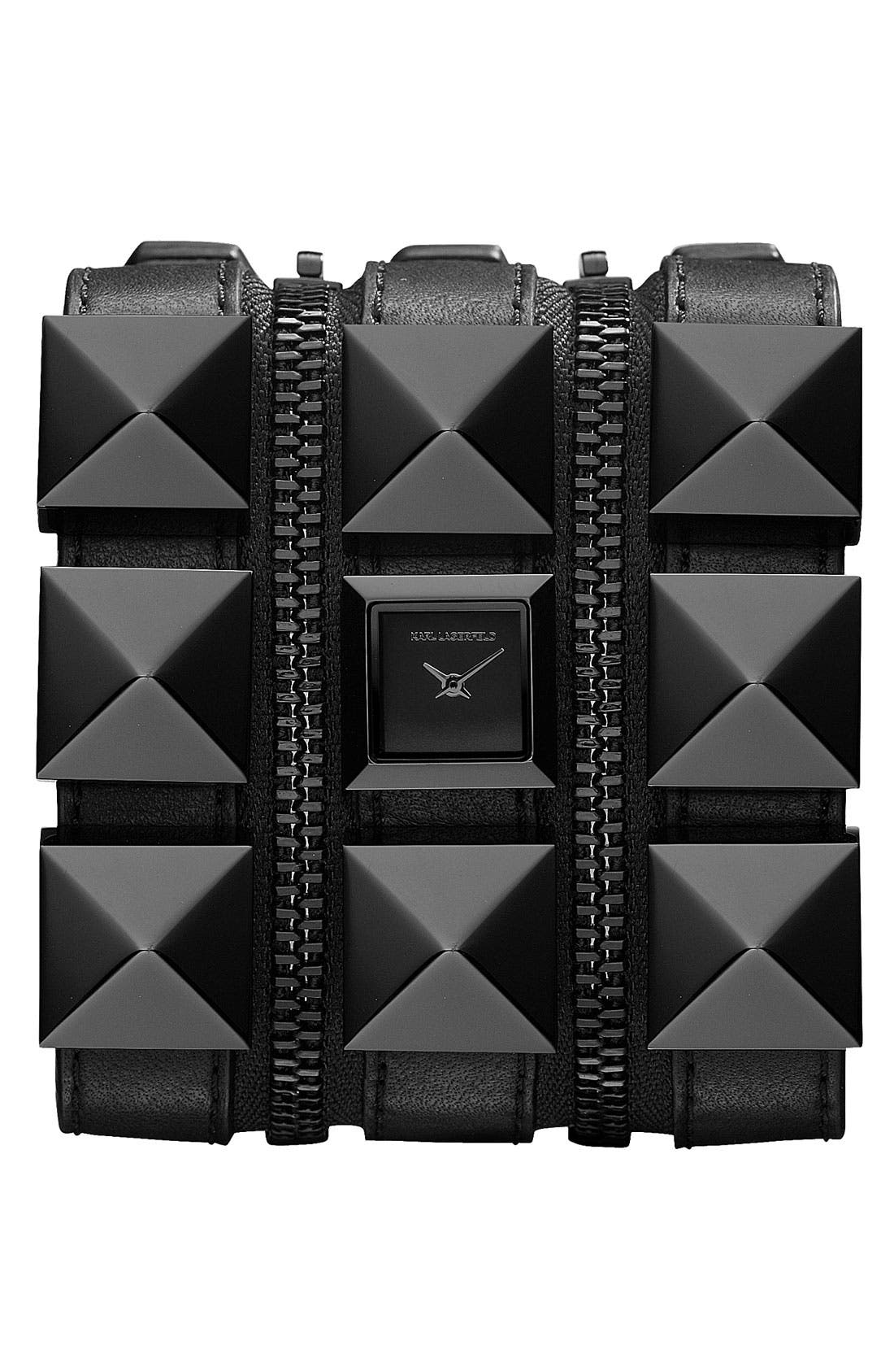 Alternate Image 1 Selected - KARL LAGERFELD Triple Strap Cuff Watch