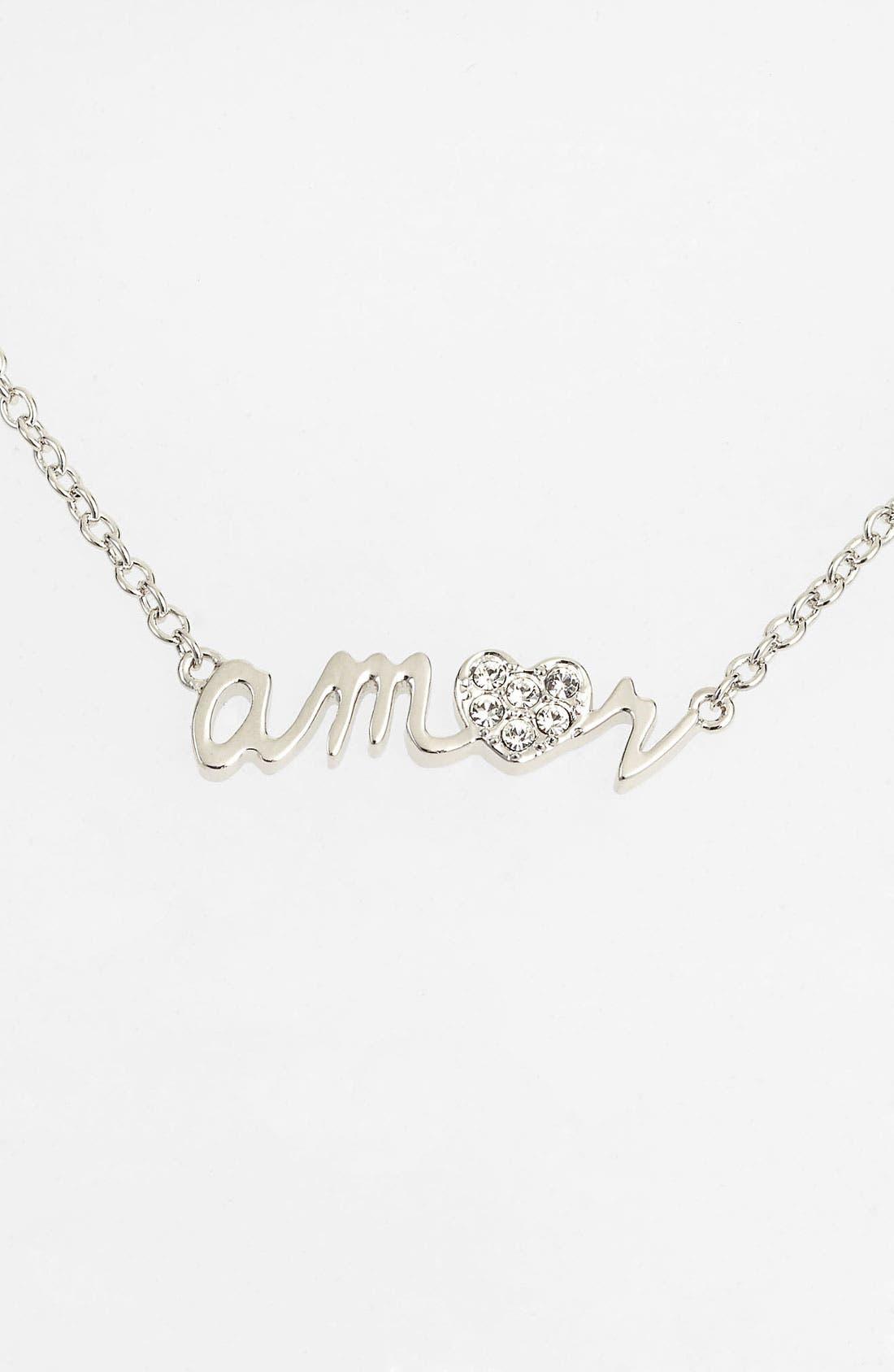 Main Image - Ariella Collection 'Messages - Amor' Script Pendant Necklace