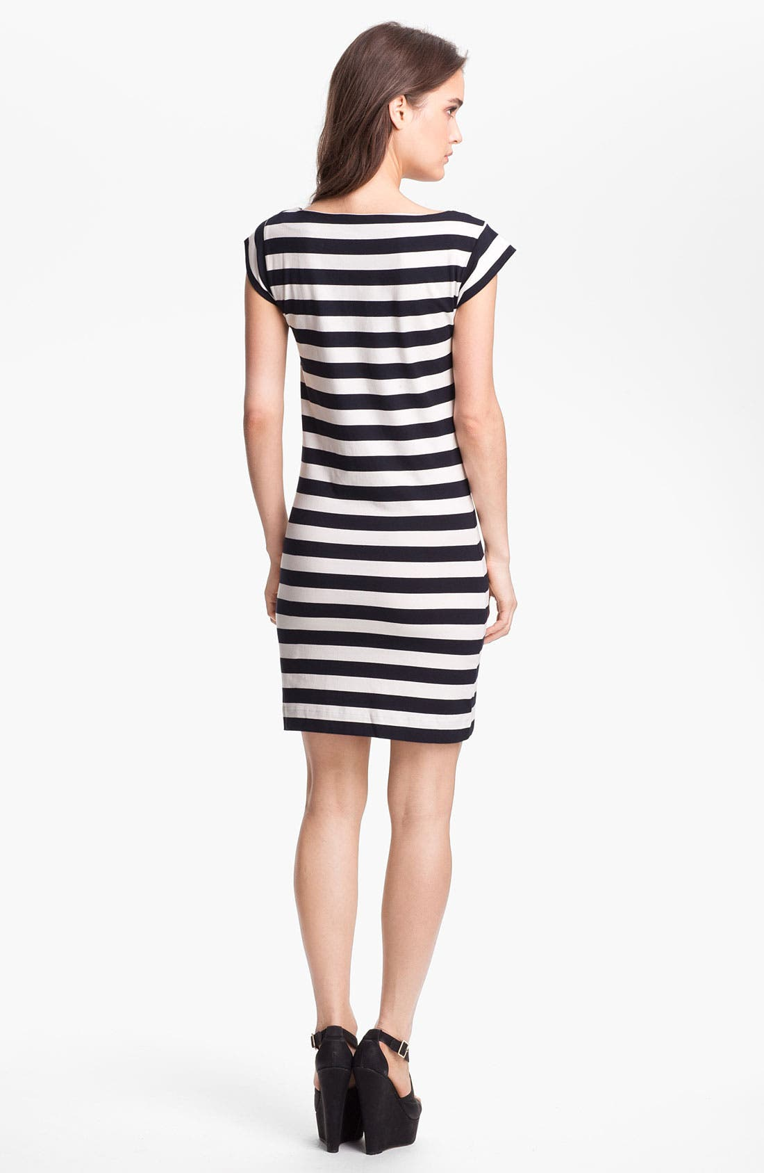 Alternate Image 2  - French Connection Stripe Cap Sleeve Knit Dress